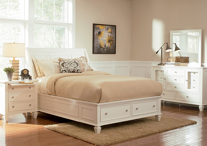 Sandy Beach White Queen Bed w/Dresser, Mirror & Nightstand,Coaster Furniture