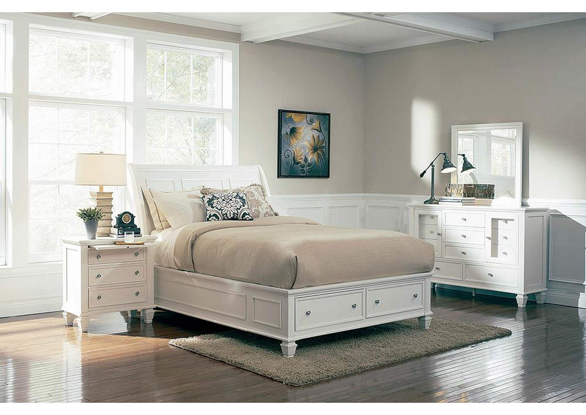 Sandy Beach White Eastern King Storage Bed,Coaster Furniture