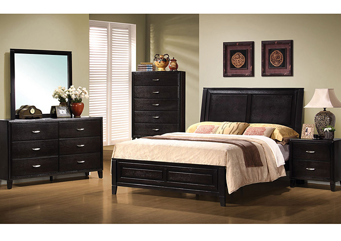 Nacey Cappucino Eastern King Bed w/Dresser, Mirror, Drawer Chest & Nightstand,Coaster Furniture