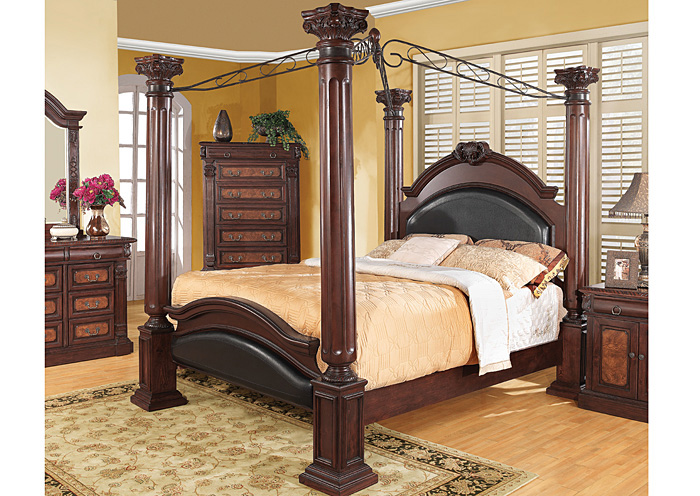 Grand Prado Black & Cherry King Bed,Coaster Furniture