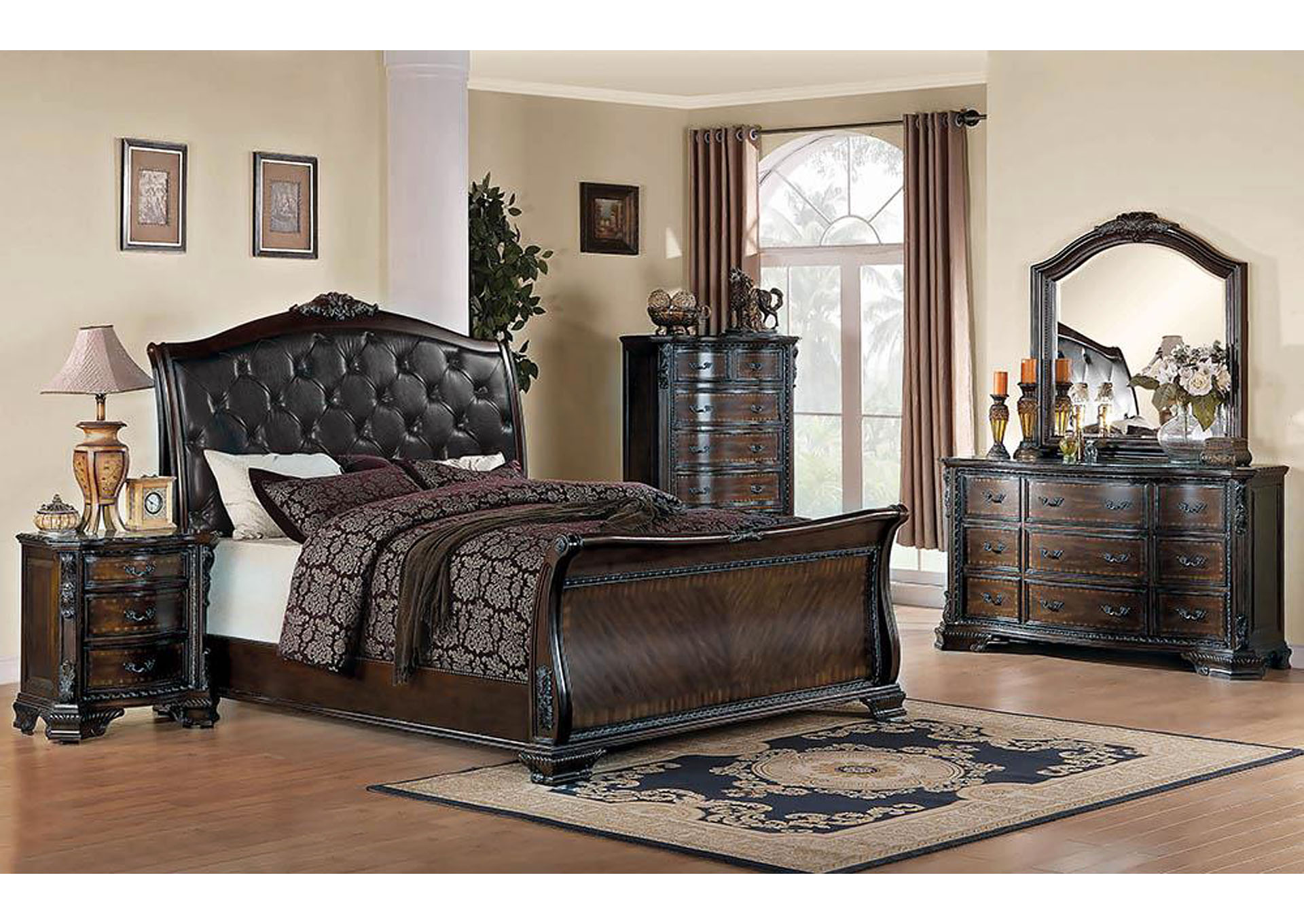Maddison Black & Brown Cherry King Bed,Coaster Furniture