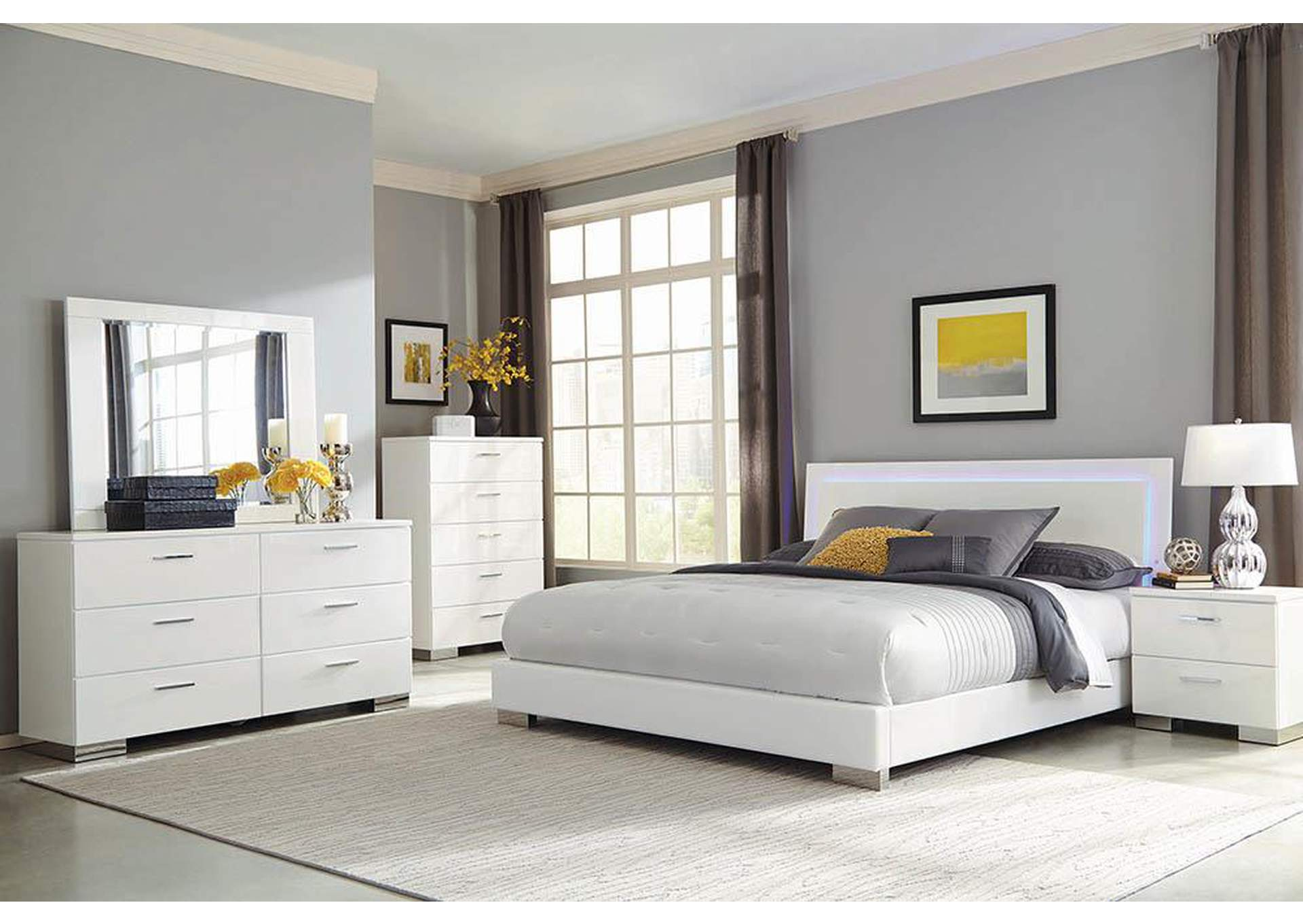 Felicity Glossy White Queen Bed,Coaster Furniture