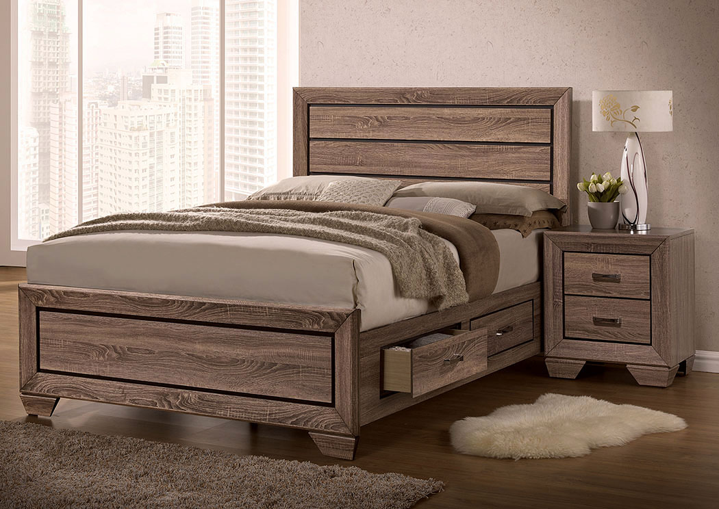 Kauffman Washed Taupe Queen Storage Bed,Coaster Furniture