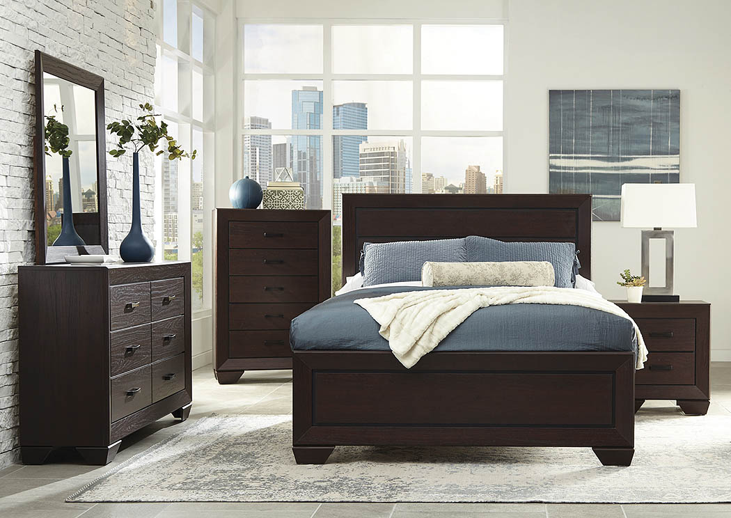 Dark Cocoa Queen Panel Bed w/Dresser, Mirror and Nightstand,Coaster Furniture