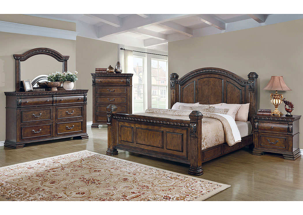Satterfield Bourbon Queen Low Poster Bed,Coaster Furniture