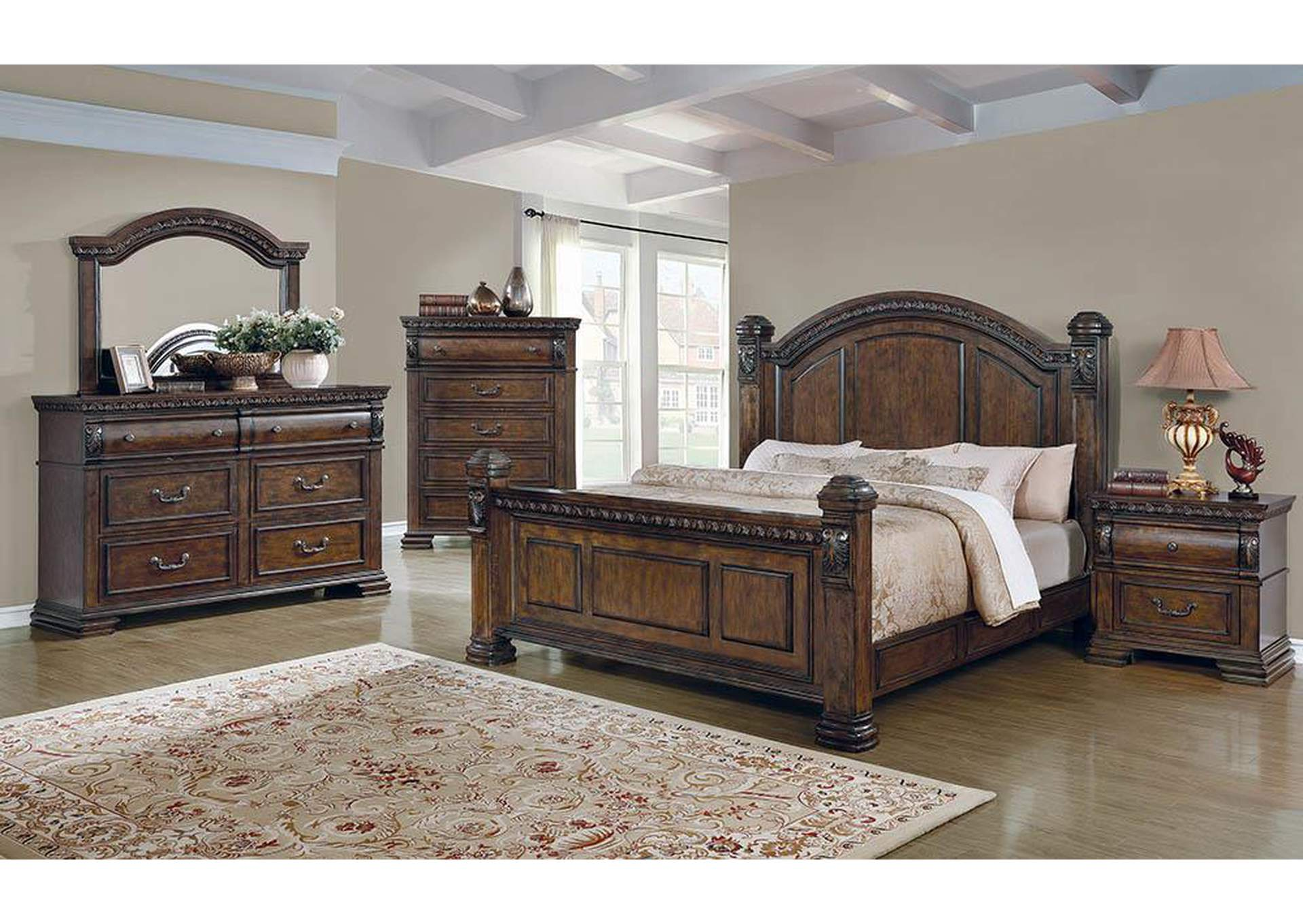Satterfield Warm Bourbon Queen Bed,Coaster Furniture