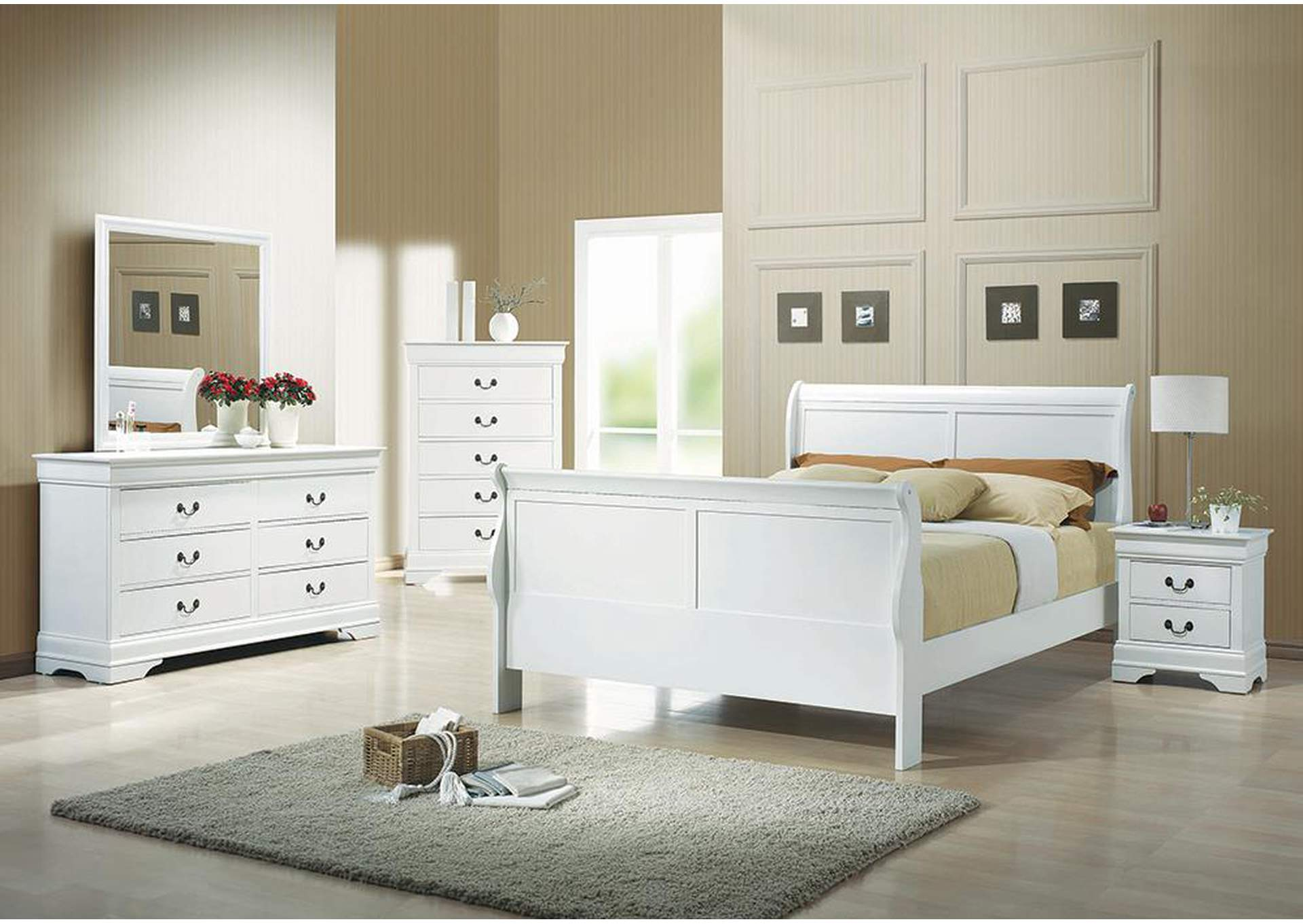 Louis Philippe White Full Bed,Coaster Furniture