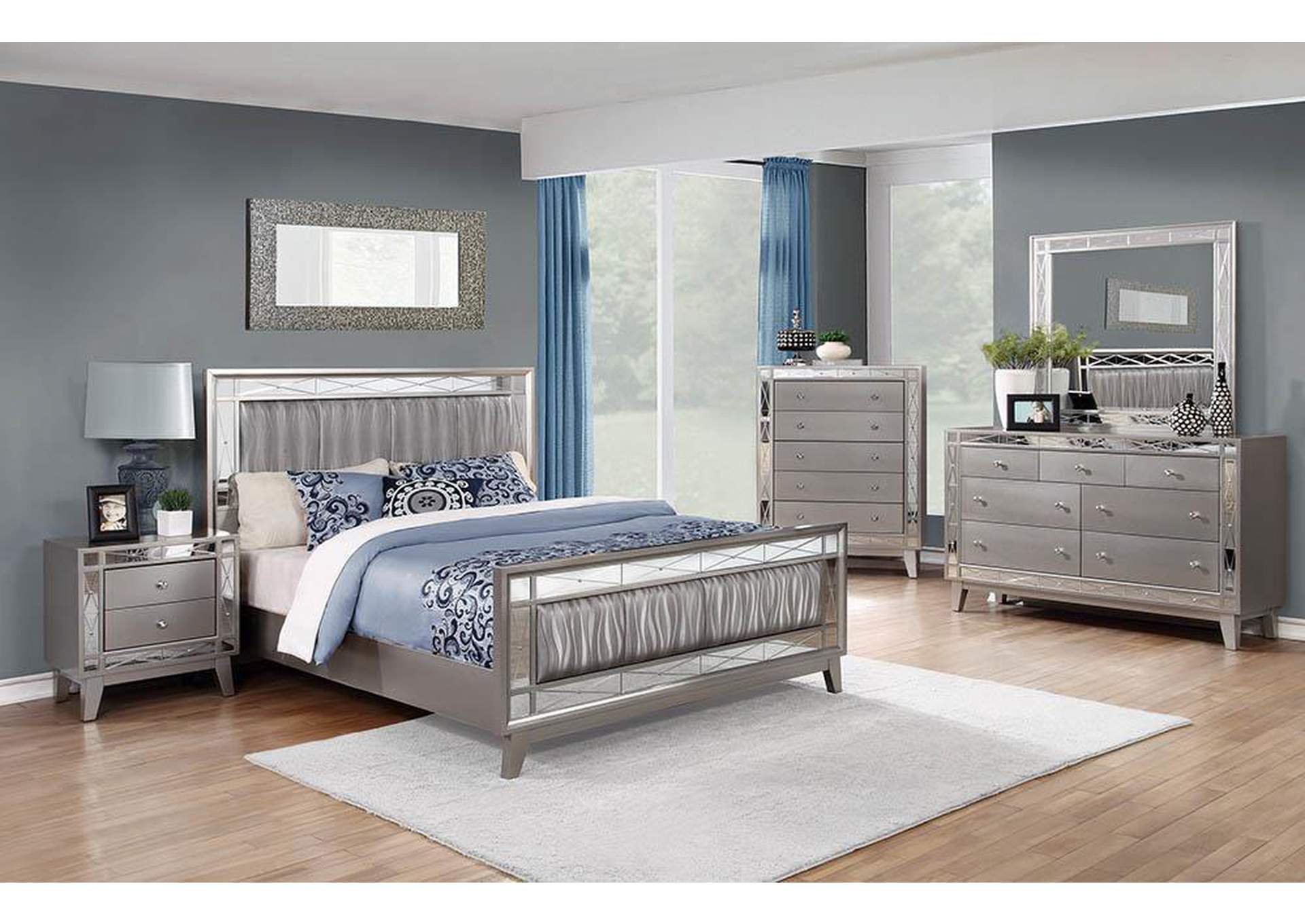 Leighton Metallic Mercury Eastern King Bed,Coaster Furniture