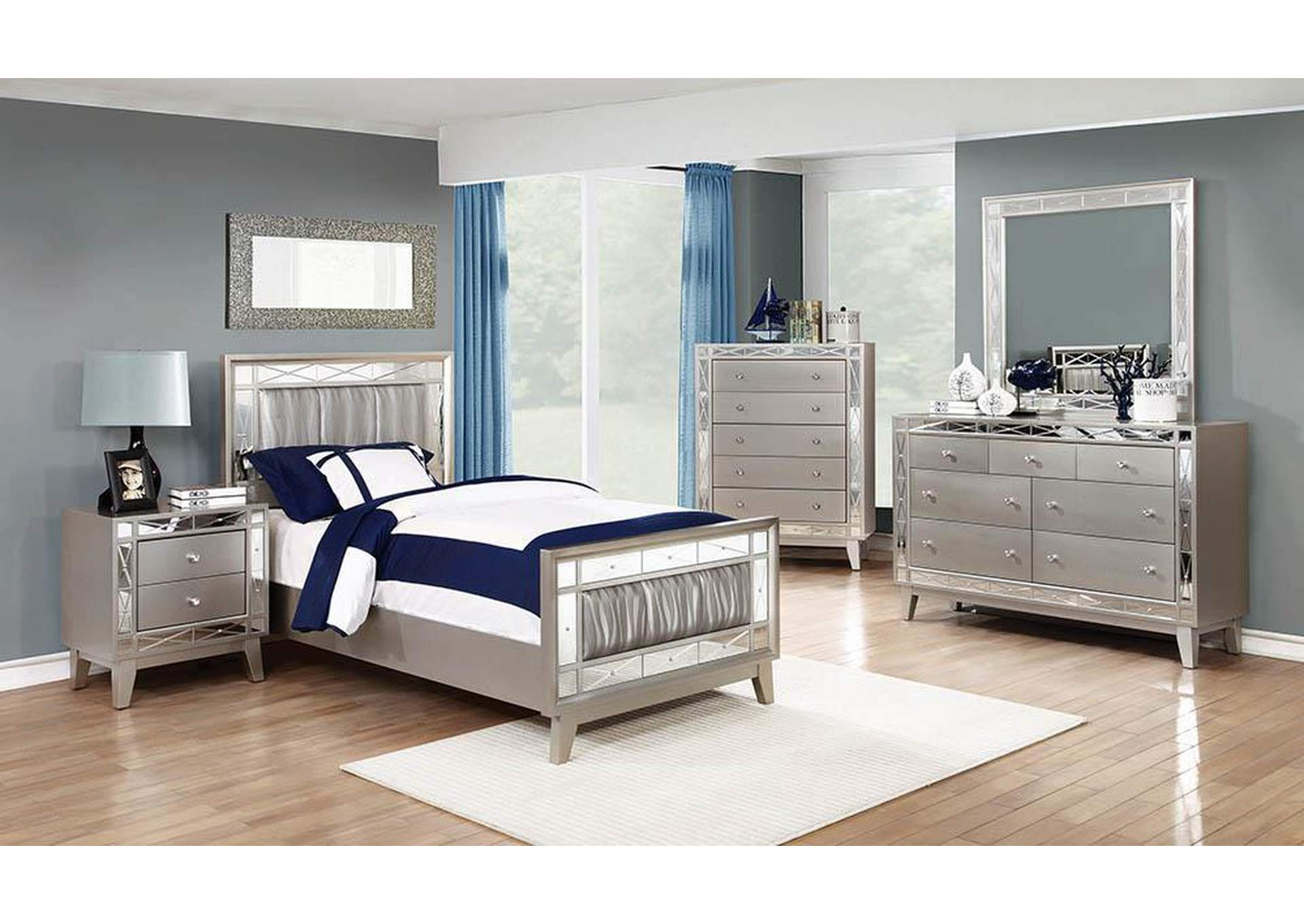 Leighton Metallic Mercury Twin Bed,Coaster Furniture