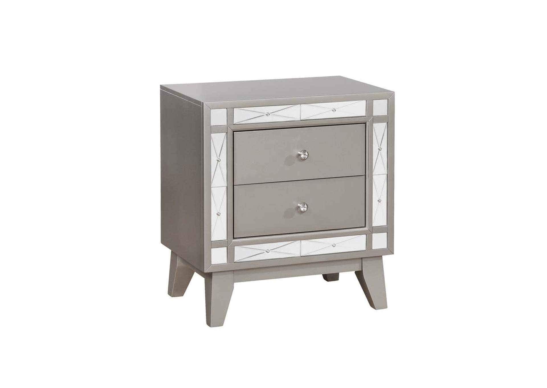 Metallic Mercury Leighton Contemporary Two Drawer Nightstand Furniture 4 Less Outlet