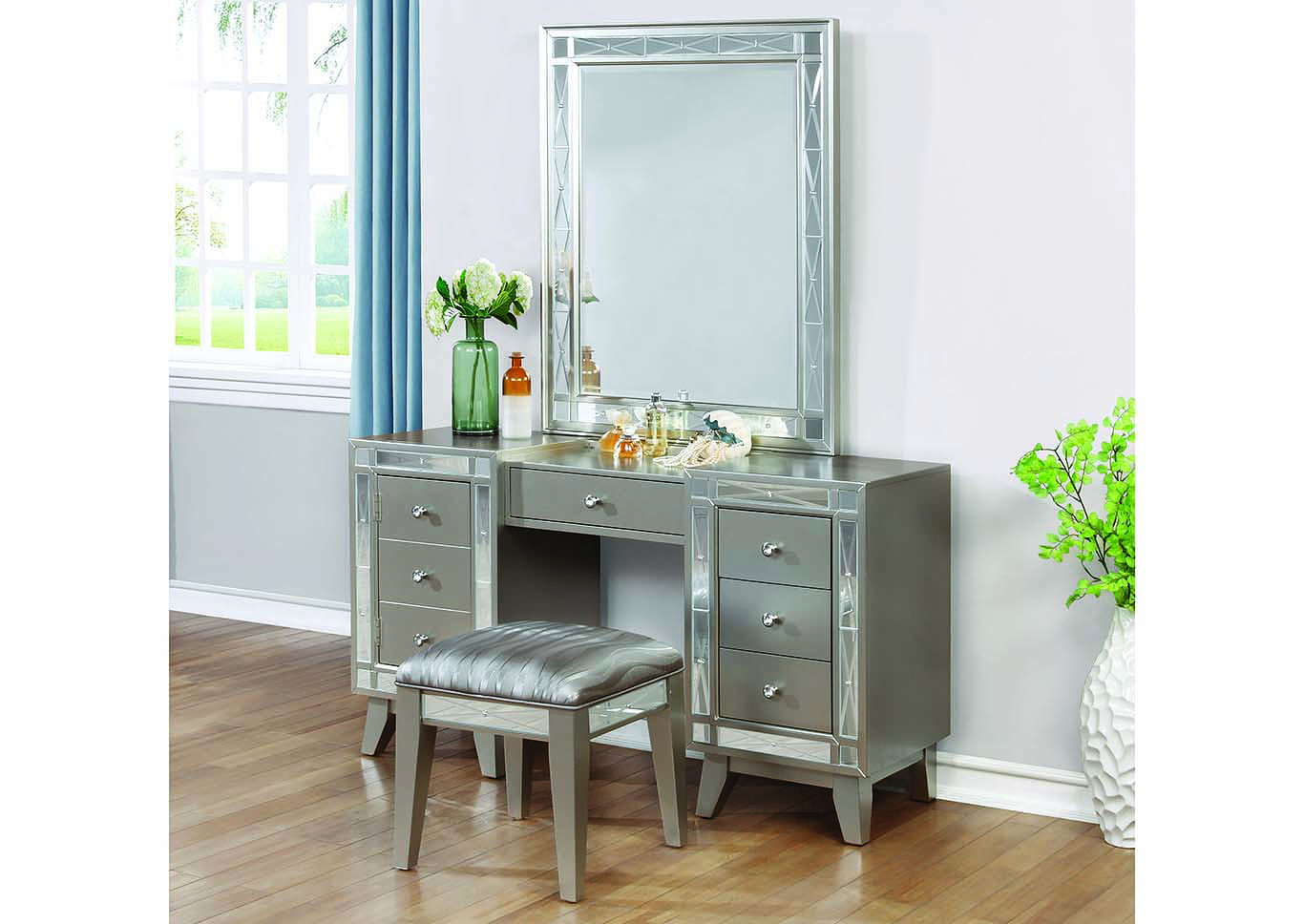 Great Brothers Fine Furniture Leighton Metallic Mercury Vanity Desk, Stool And  Mirror