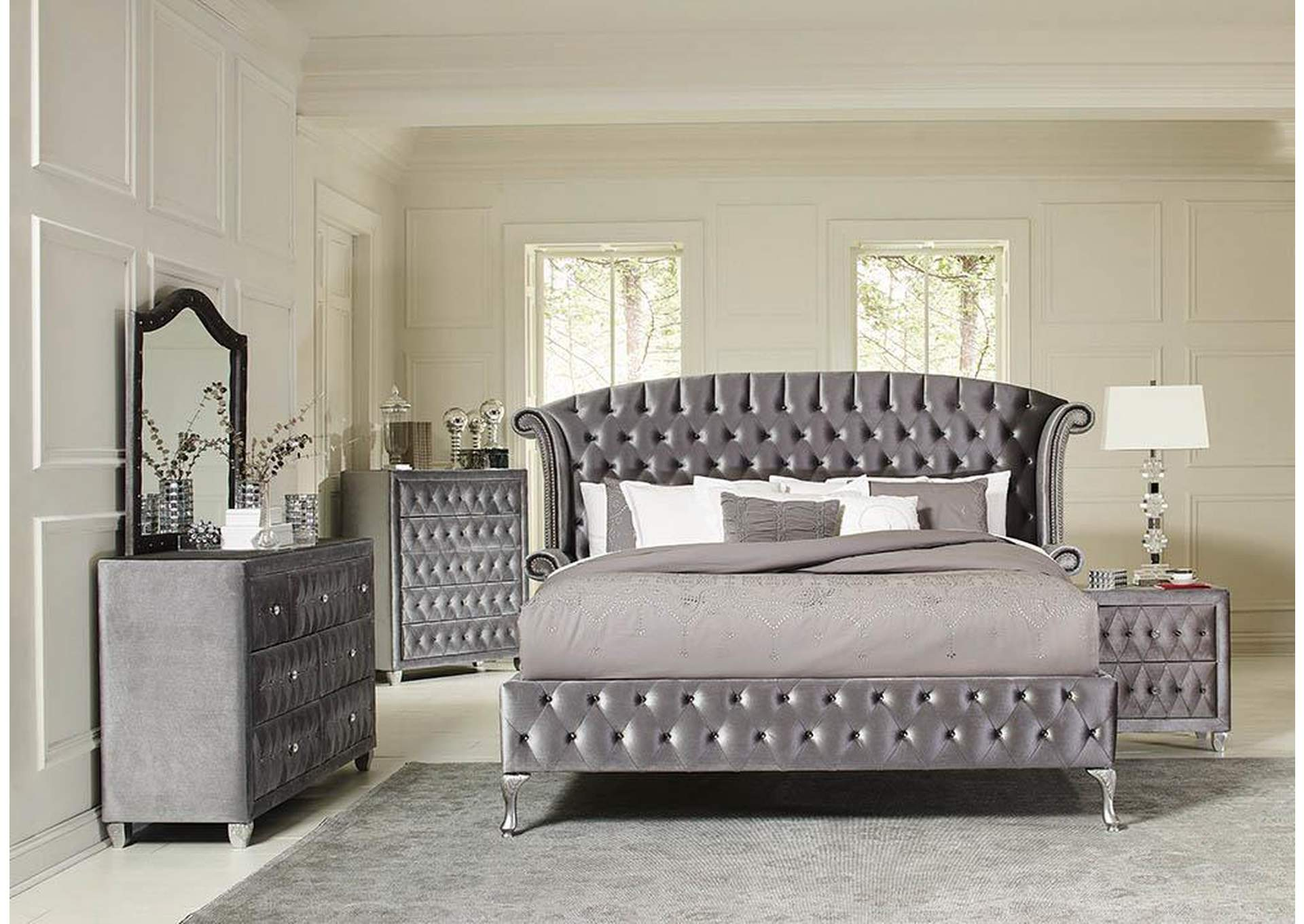 Soft Amber Deanna Contemporary Metallic California King Bed,Coaster Furniture