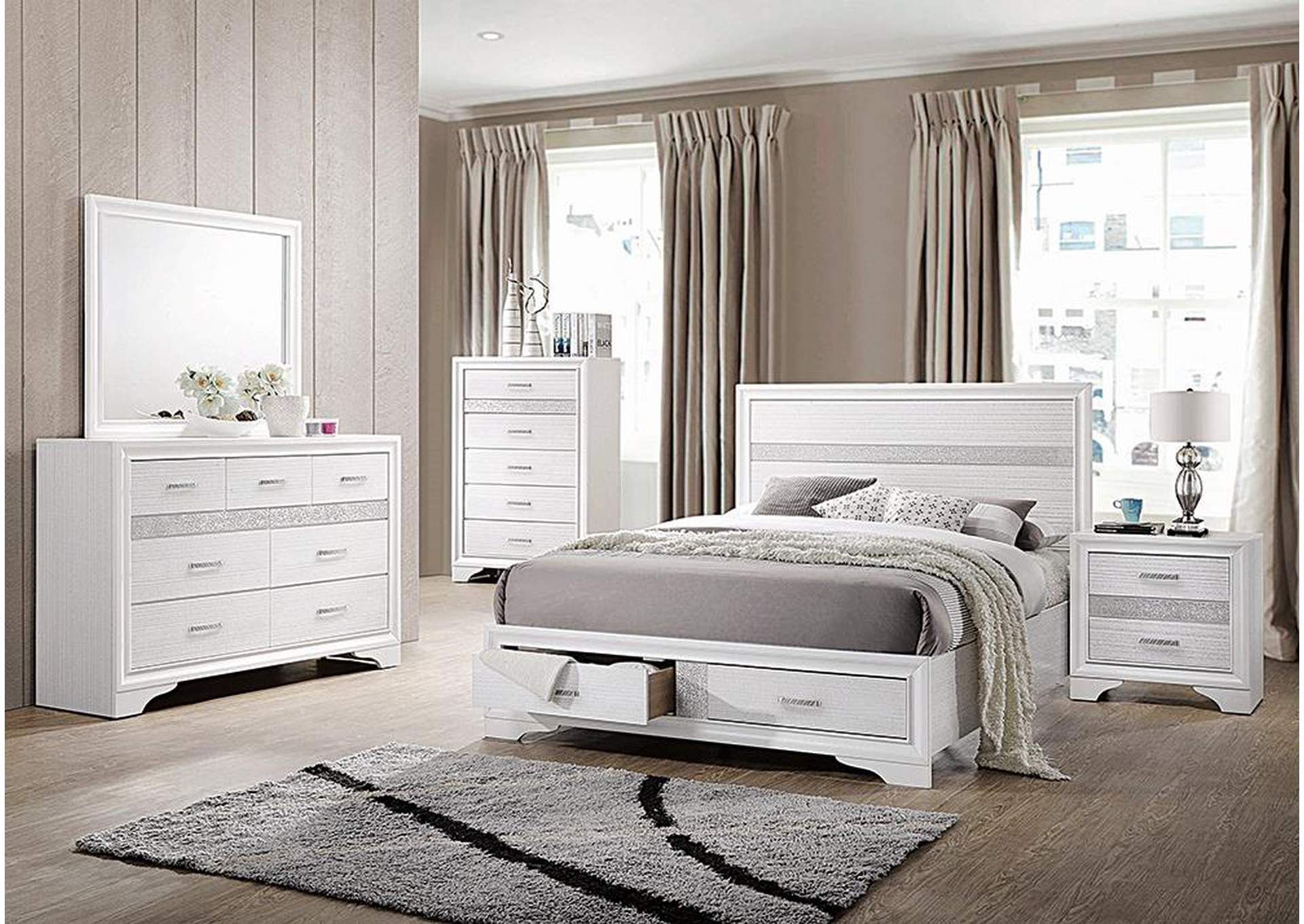 Miranda White Eastern King Storage Bed W/ Dresser & Mirror,Coaster Furniture