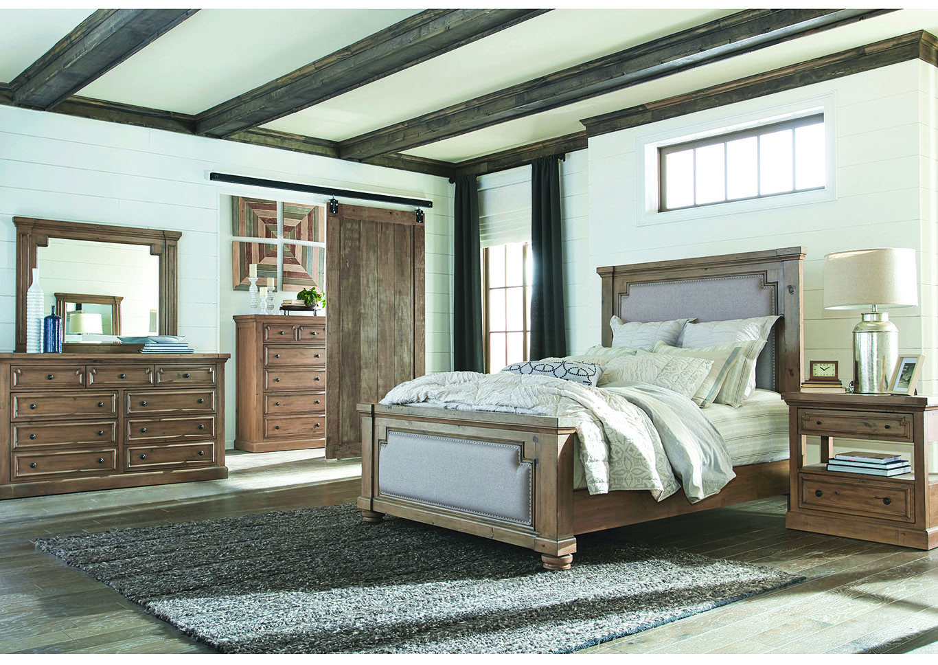 Florence Rustic Smoke Queen Panel Bed,Coaster Furniture