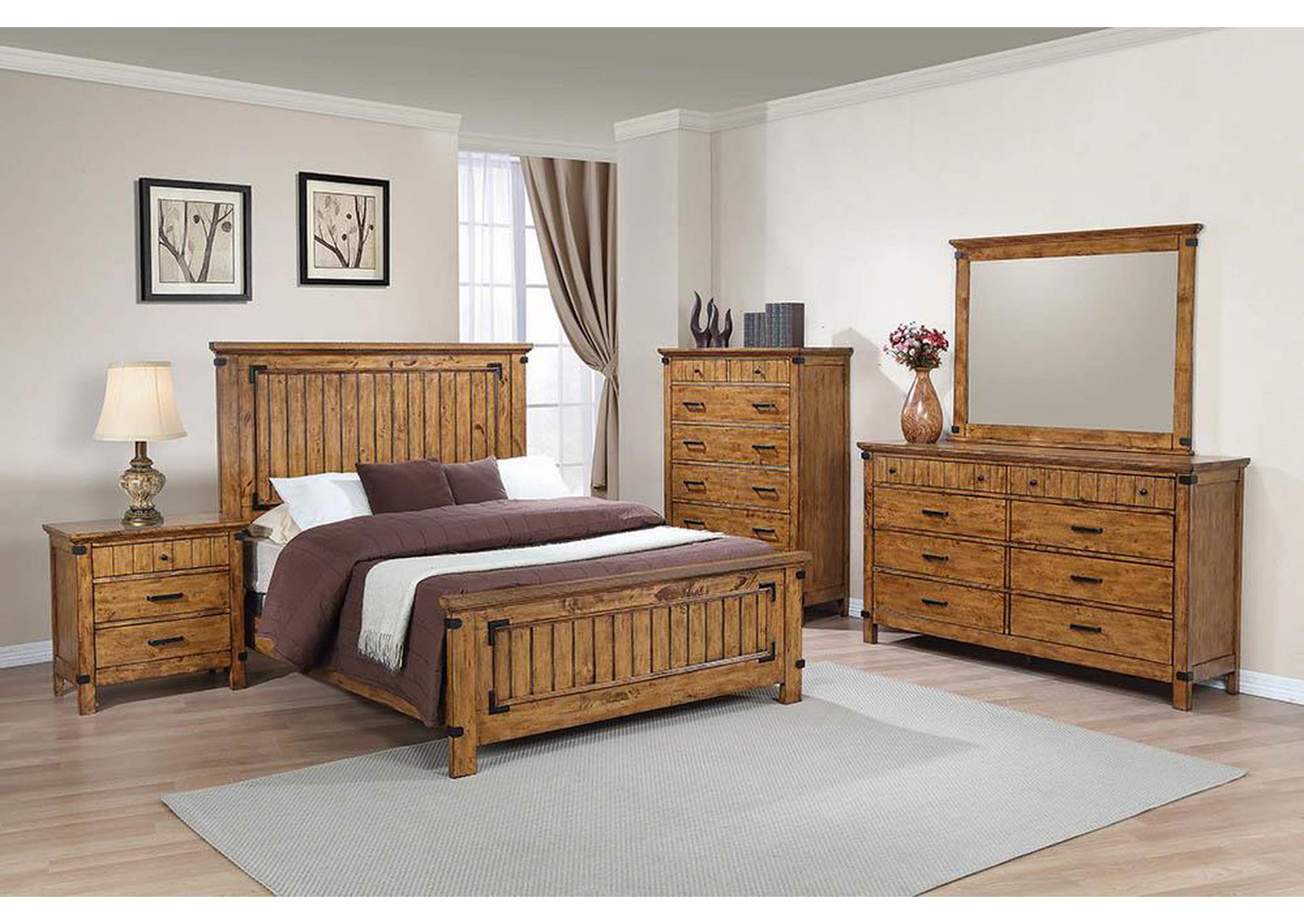 Brenner Rustic Honey Queen Panel Bed,Coaster Furniture