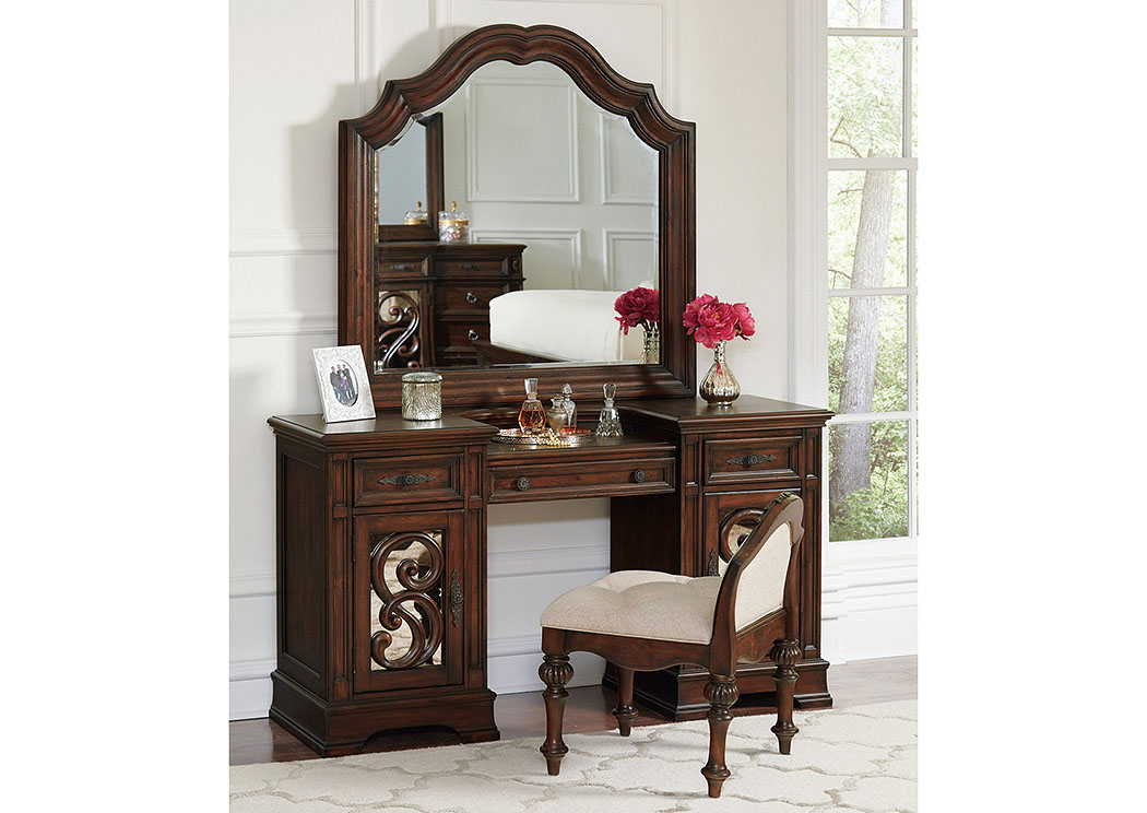 Ilana Antique Java Vanity Desk w/Arched Mirror,Coaster Furniture