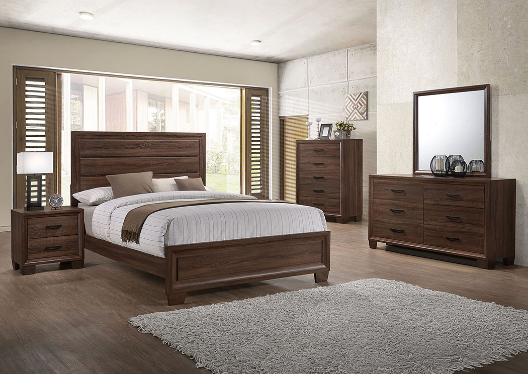 Albertu0027s Home Furnishing Medium Warm Brown Queen Bed W/Dresser And Mirror