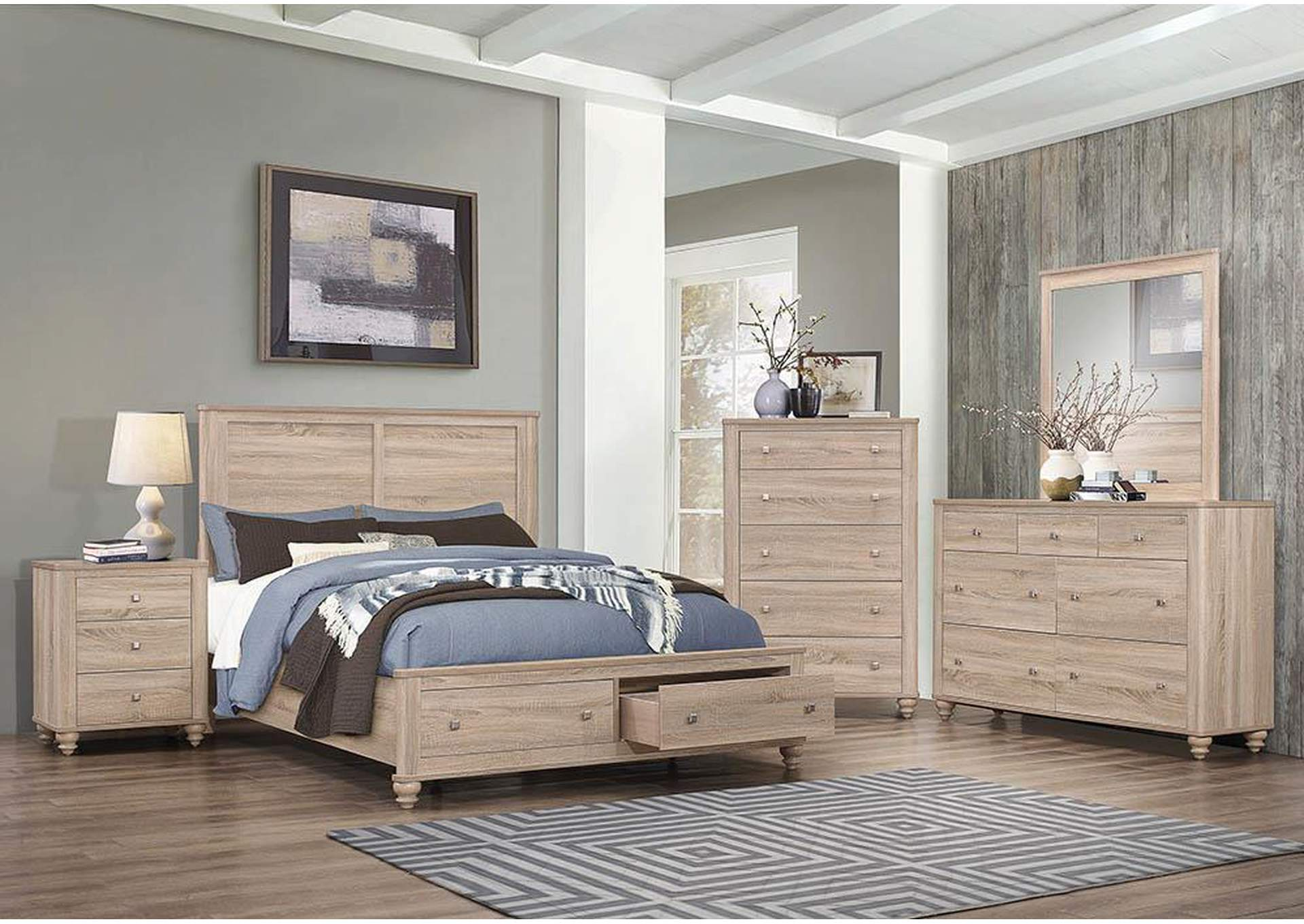Wenham Natural Oak 4 Piece Full Bedroom Set,Coaster Furniture