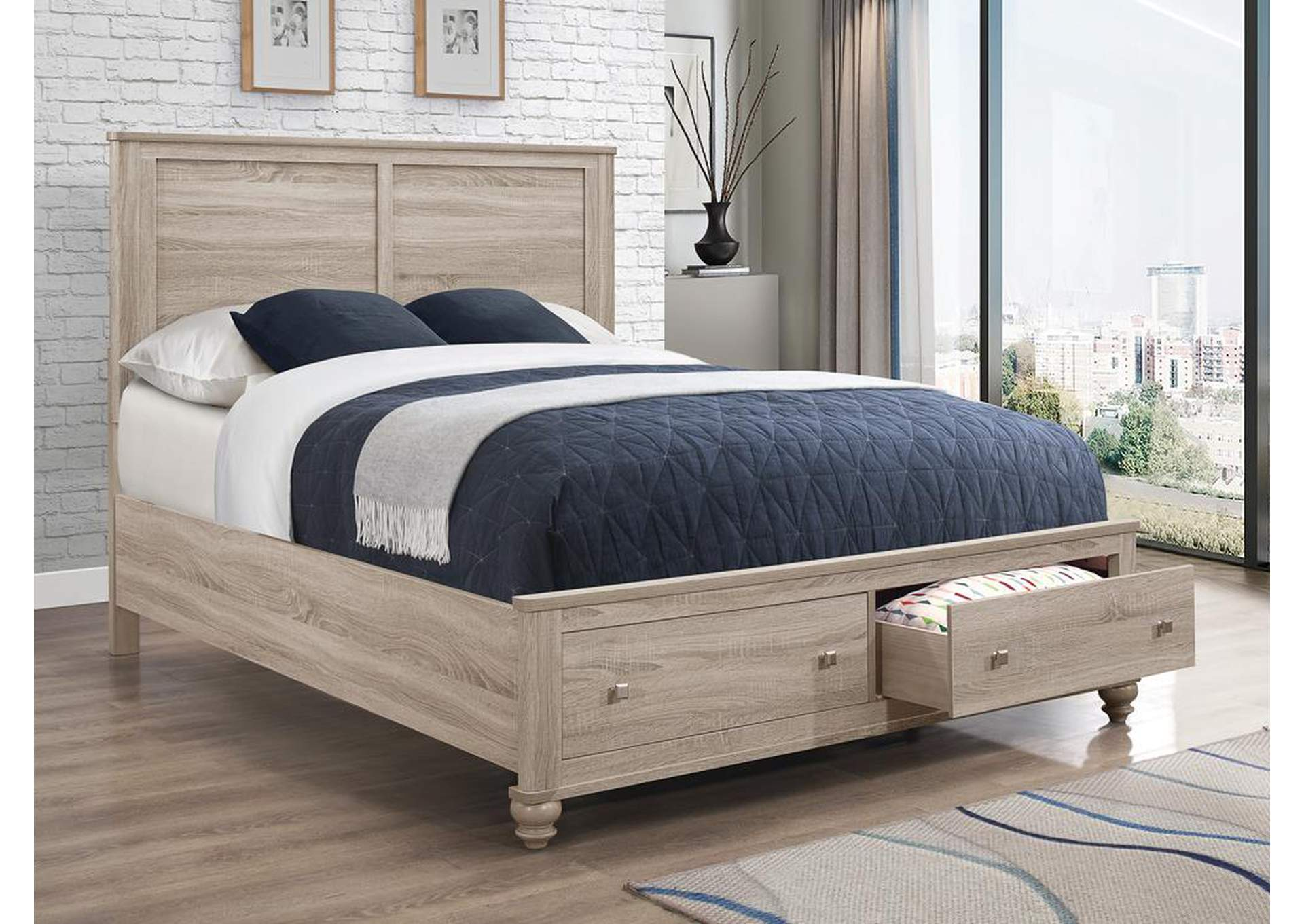 Wenham Natural Oak Queen Storage Bed,Coaster Furniture