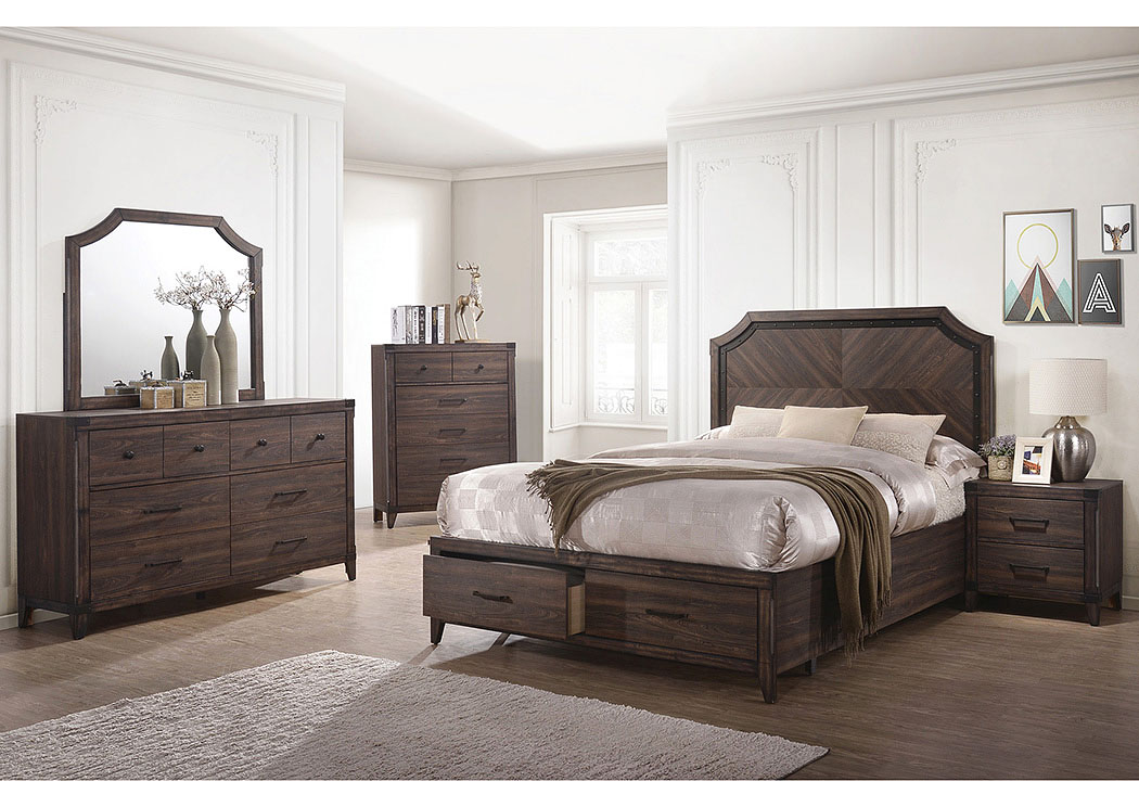 Richmond Dark Grey Oak Queen Storage Bed,Coaster Furniture