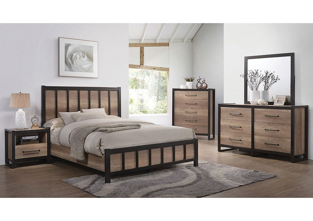 Edgewater Weathered Oak Queen Panel Bed,Coaster Furniture