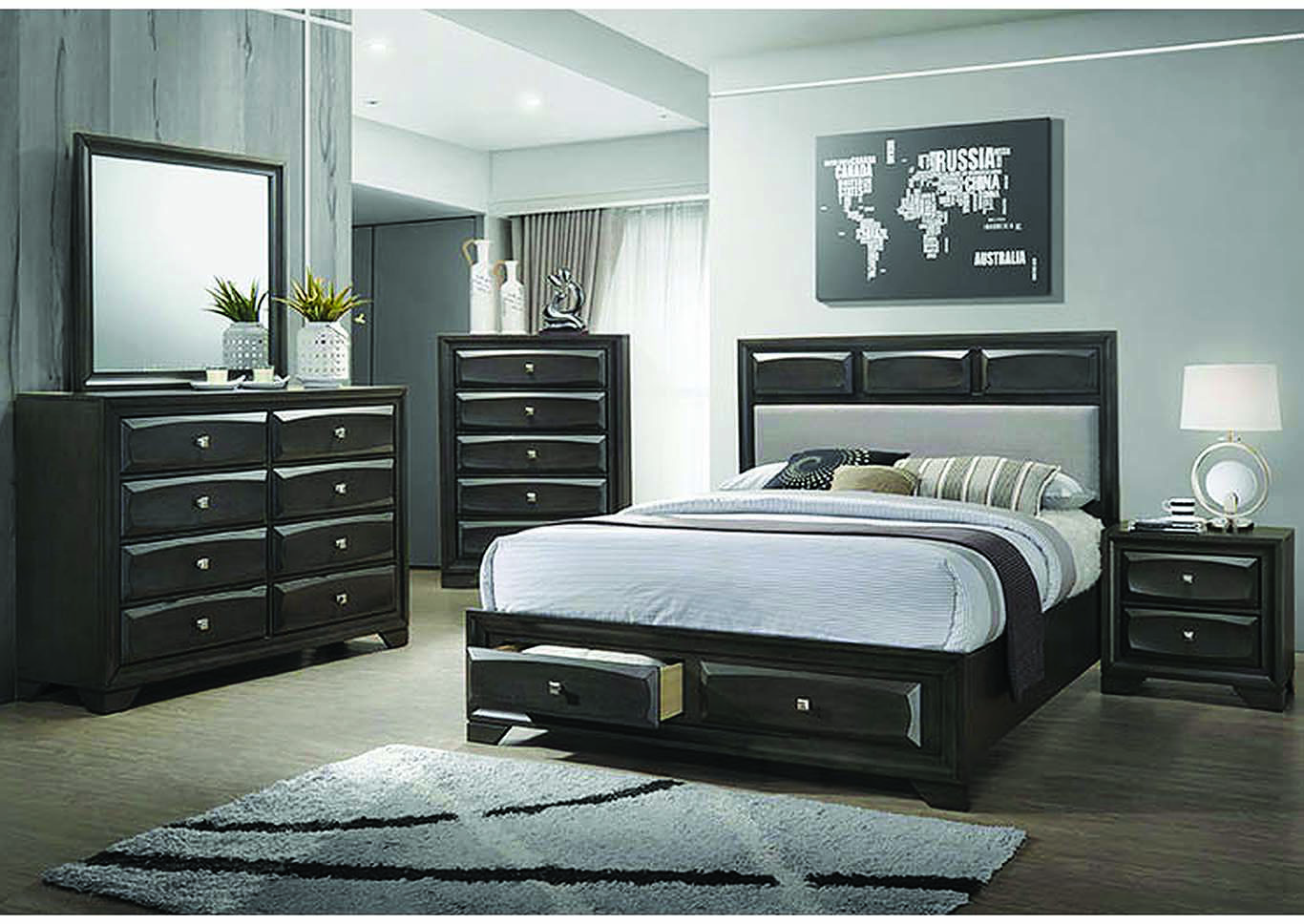Brown Graphite Eastern King Storage Bed w/Dresser & Mirror,Coaster Furniture