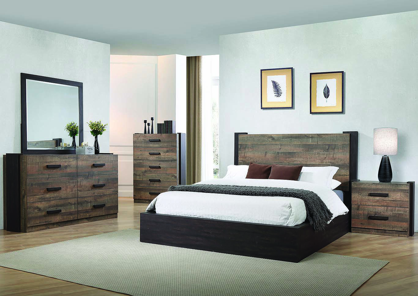 Weston Weathered Oak and Rustic Coffee Queen Platform Bed w/Dresser & Mirror,Coaster Furniture