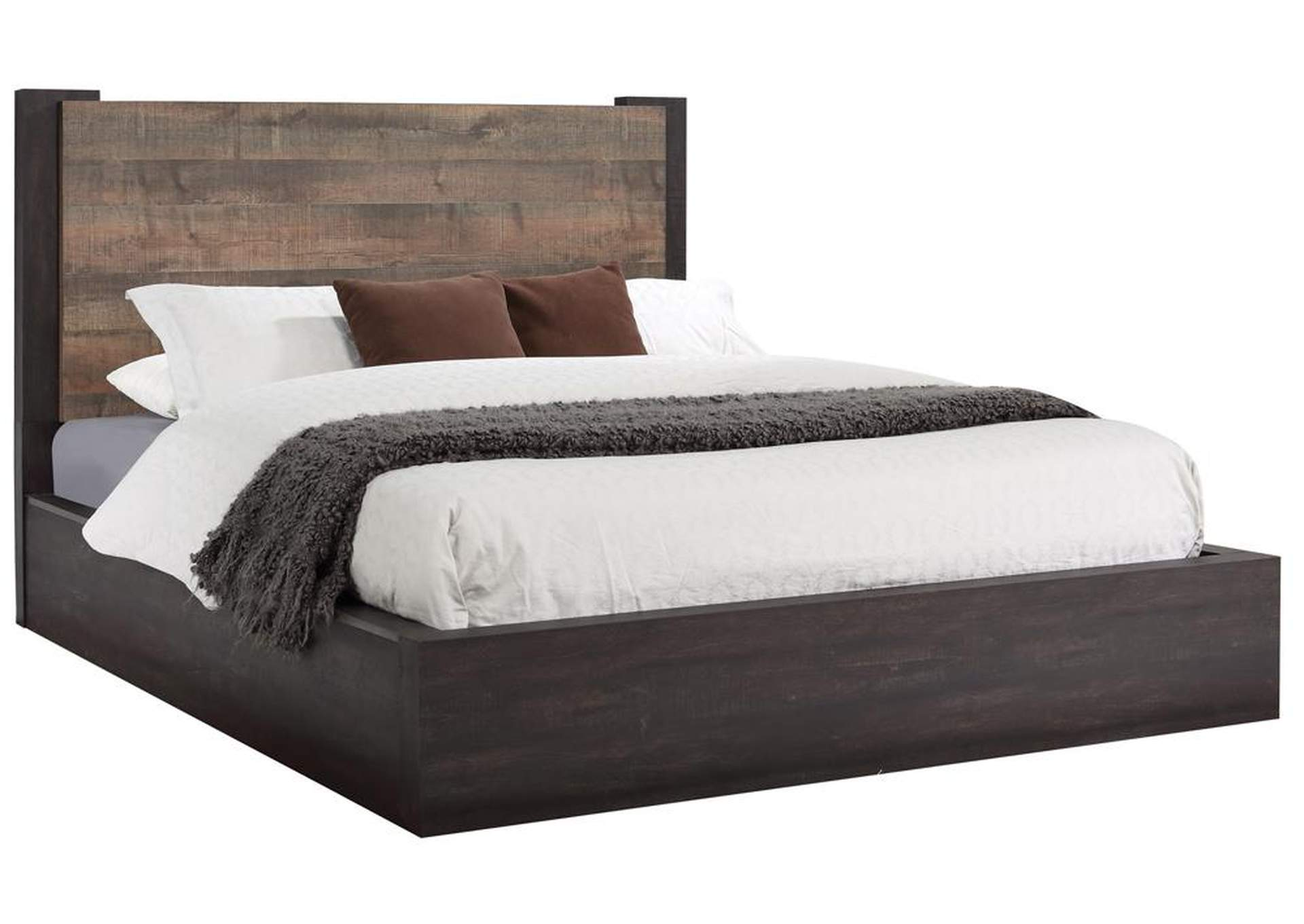 Weston Weathered Oak/Rustic Coffee Eastern King Platform Bed,Coaster Furniture