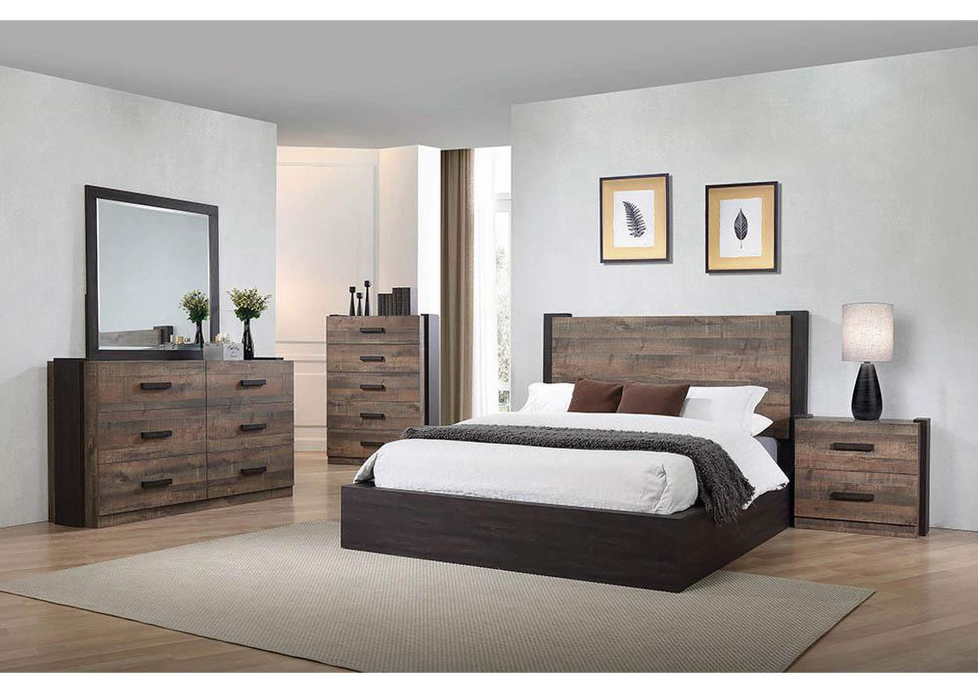 Weston Weathered Oak/Rustic Coffee Queen Platform Bed,Coaster Furniture
