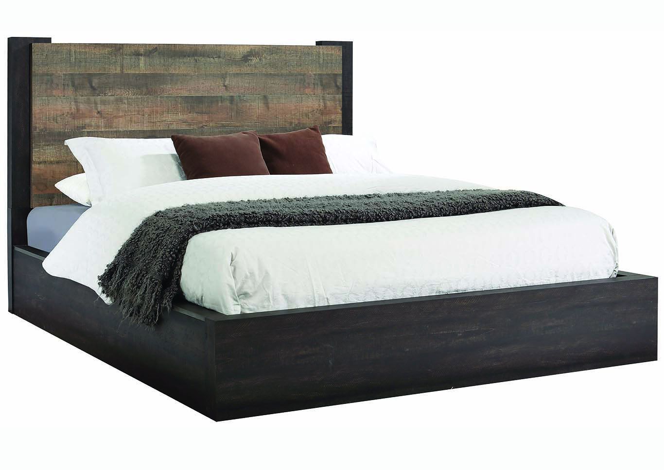 Weston Weathered Oak & Rustic Coffee Eastern King Platform Bed w/Dresser & Mirror,Coaster Furniture