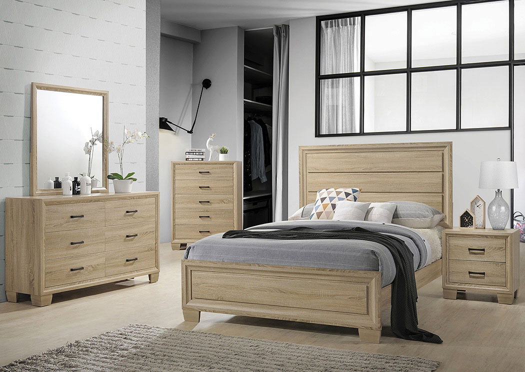 Vernon White Washed Oak Queen Panel Bed,Coaster Furniture