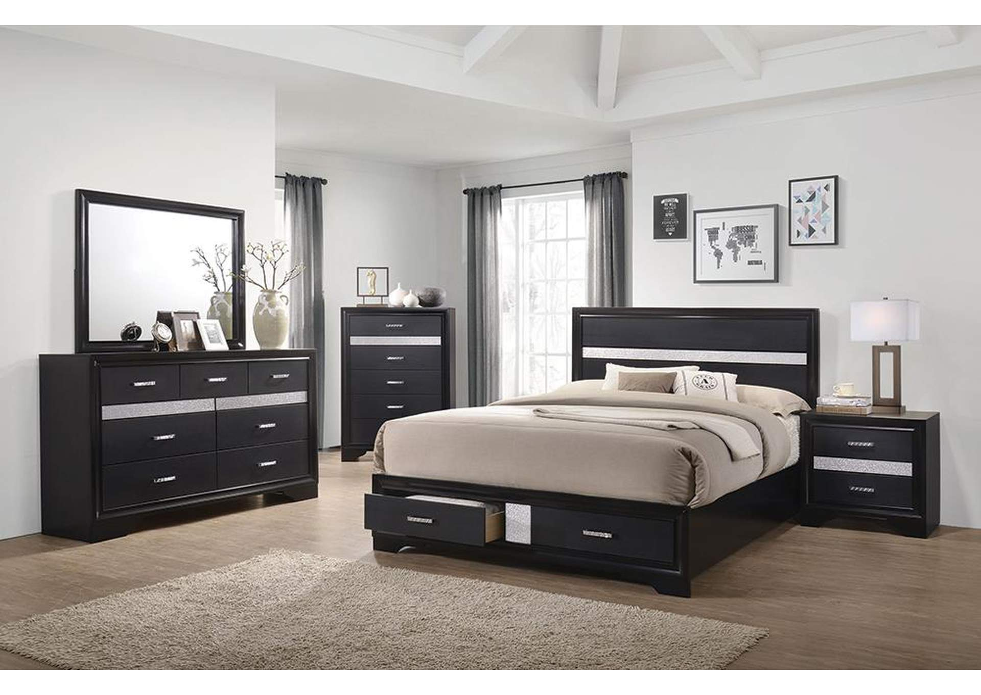 Miranda Black Eastern King Storage Bed W/ Dresser & Mirror,Coaster Furniture