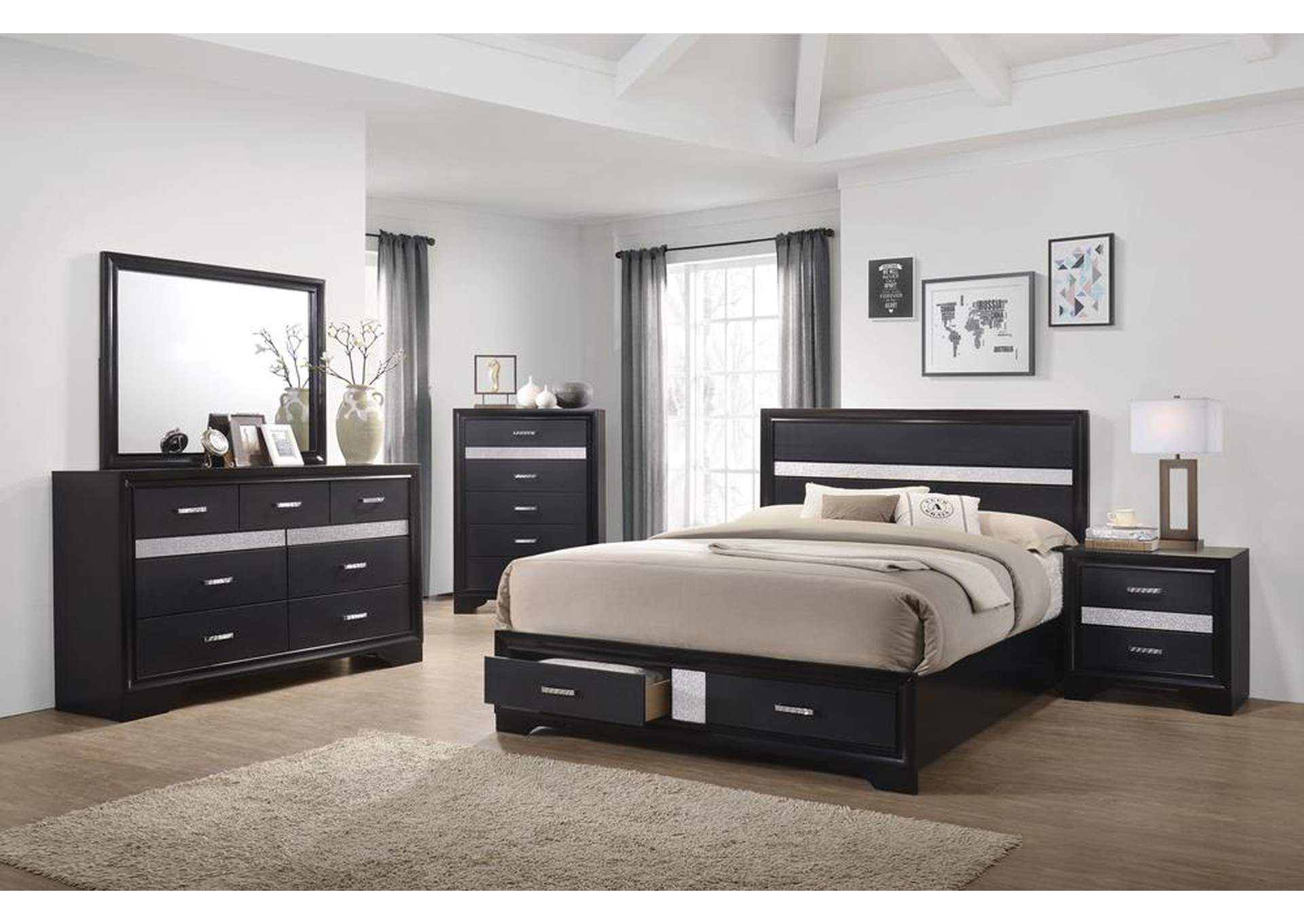 Eerie Black Miranda Contemporary Black Queen Bed,Coaster Furniture