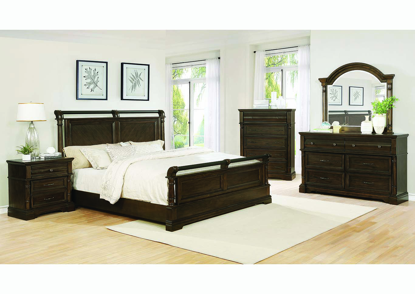 Chandler Heirloom Brown Eastern King Sleigh Bed w/Dresser & Mirror,Coaster Furniture