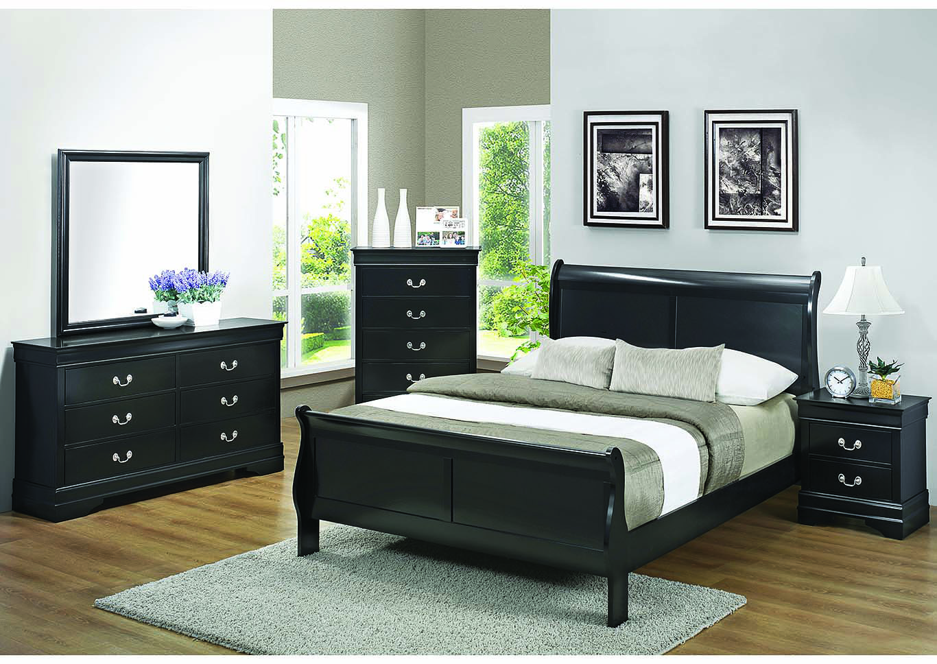 Louis Philippe Black Eastern King Bed w/Dresser, Mirror, Chest and Nightstand,Coaster Furniture