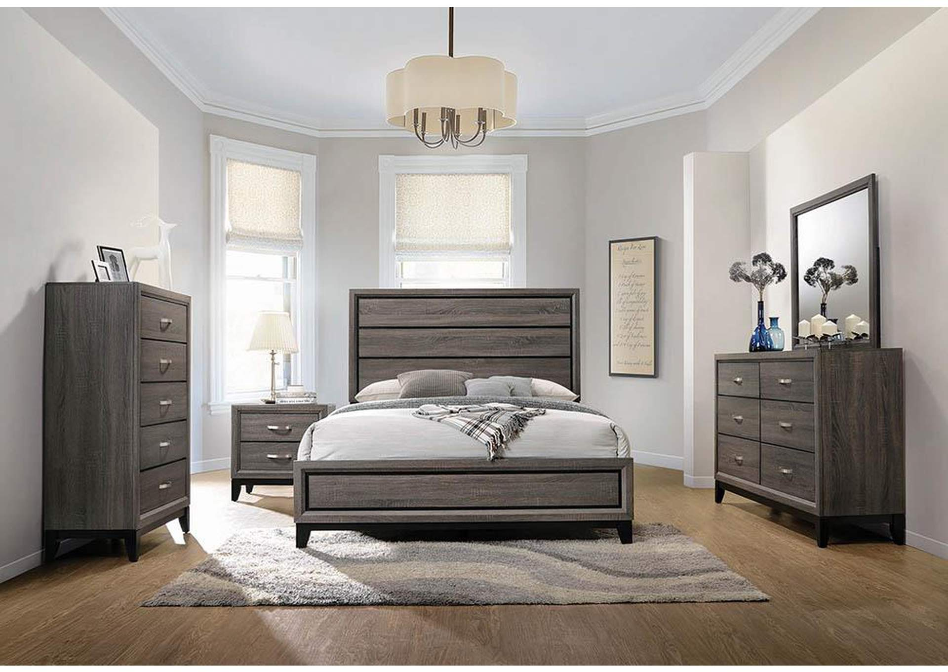 Watson Rustic Grey Oak Eastern King Panel Bed,Coaster Furniture