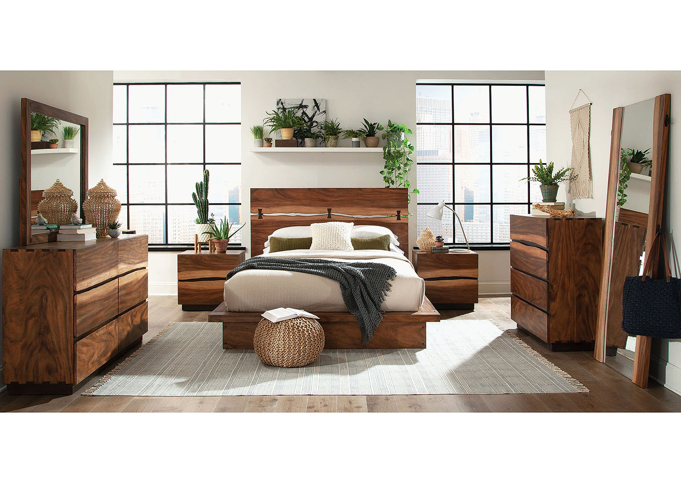 Smoky Walnut Queen Platform Storage Bed,Coaster Furniture