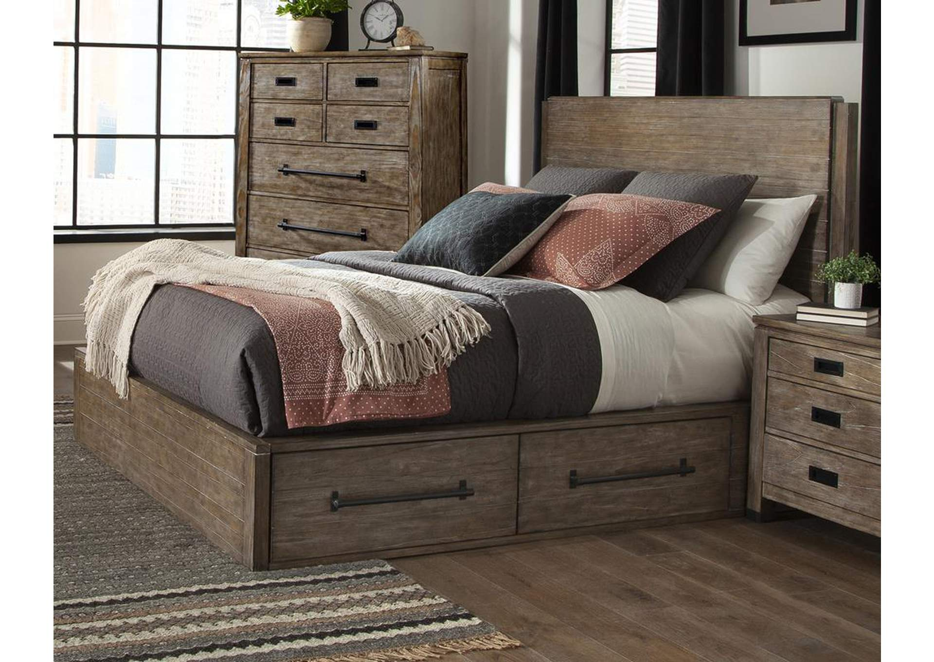 Meester Rustic Barn Door Eastern King Bed,Coaster Furniture