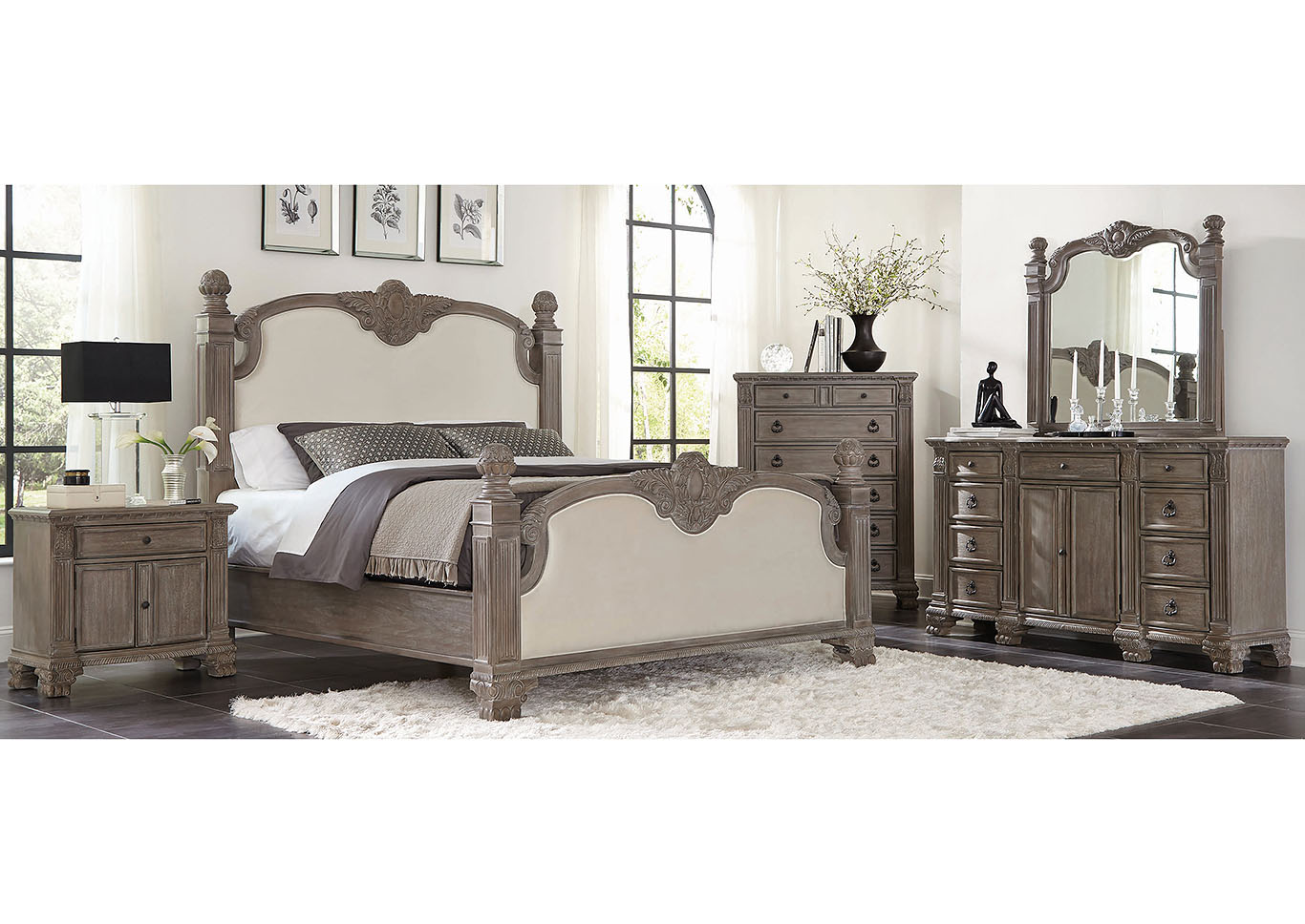 Jenna Vintage Grey Upholstered Eastern King Bed,Coaster Furniture