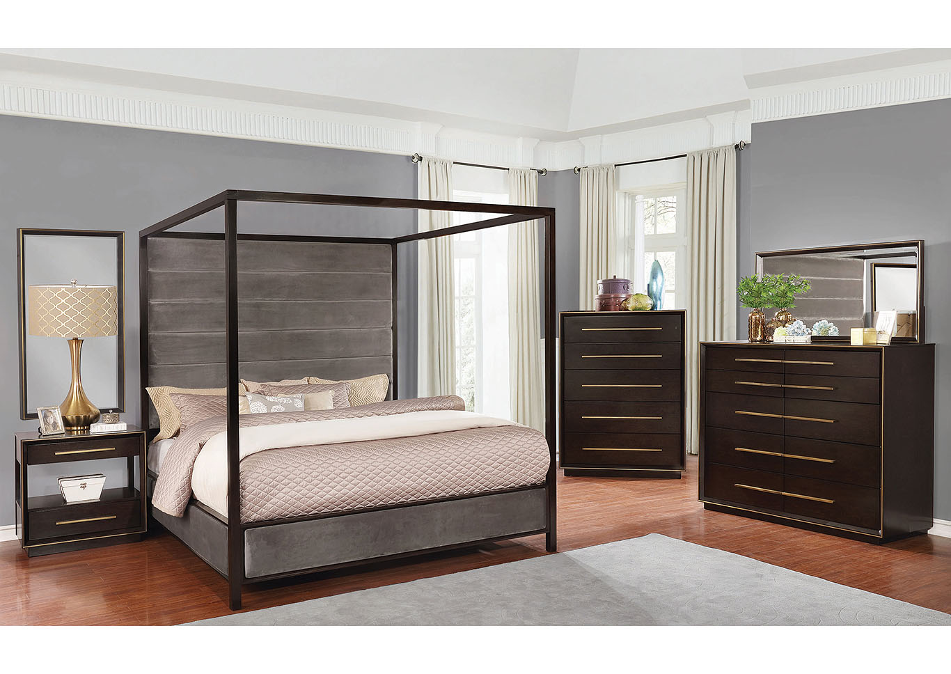 Smoked Peppercorn Queen Canopy Bed,Coaster Furniture