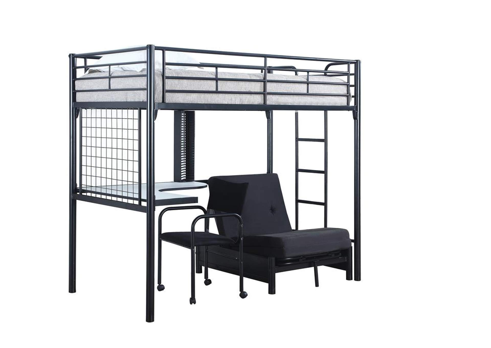 This Is It Furniture Metal Loft Bunk Bed w/Desk