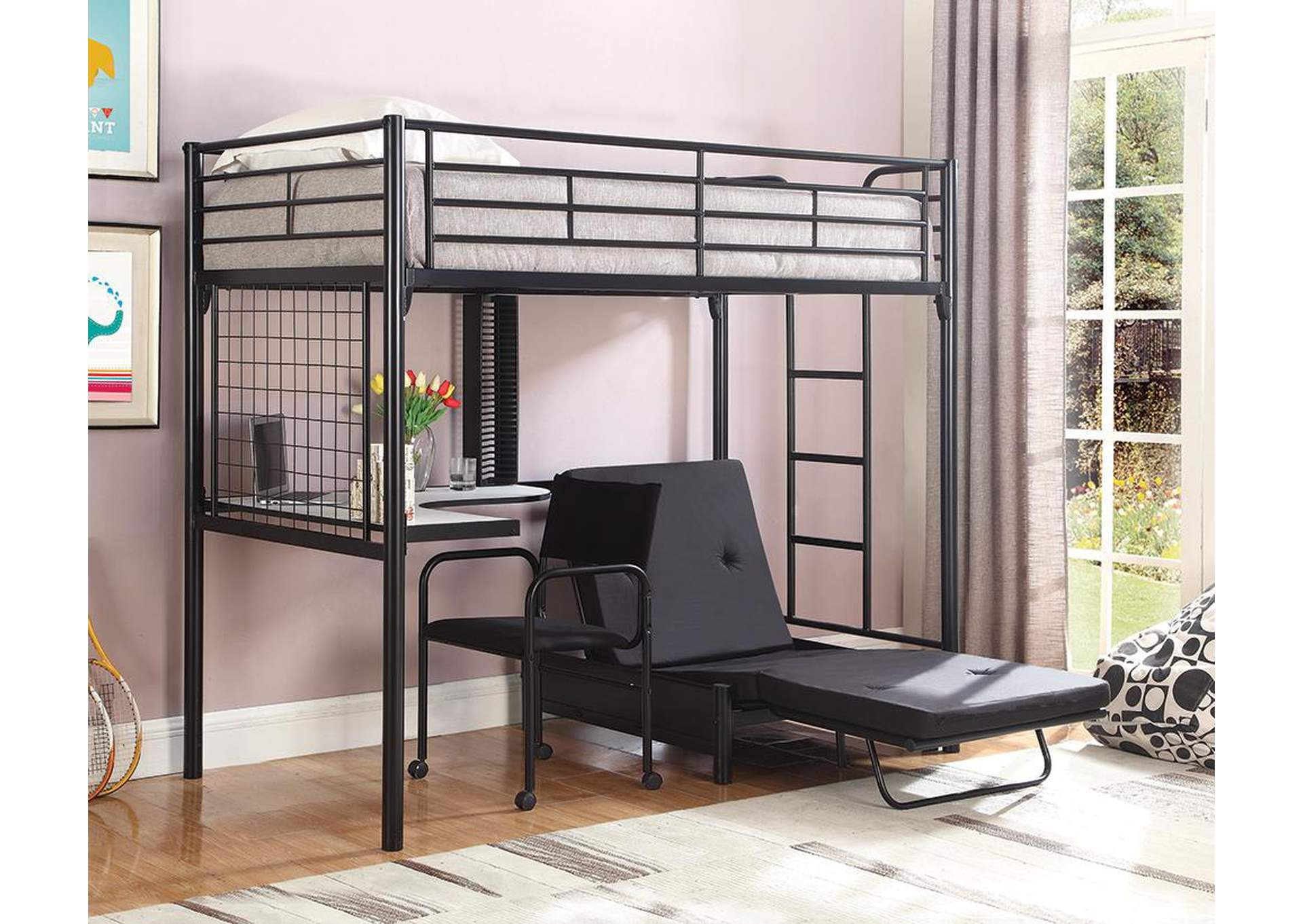 Metal Loft Bunk Bed w/Desk,Coaster Furniture