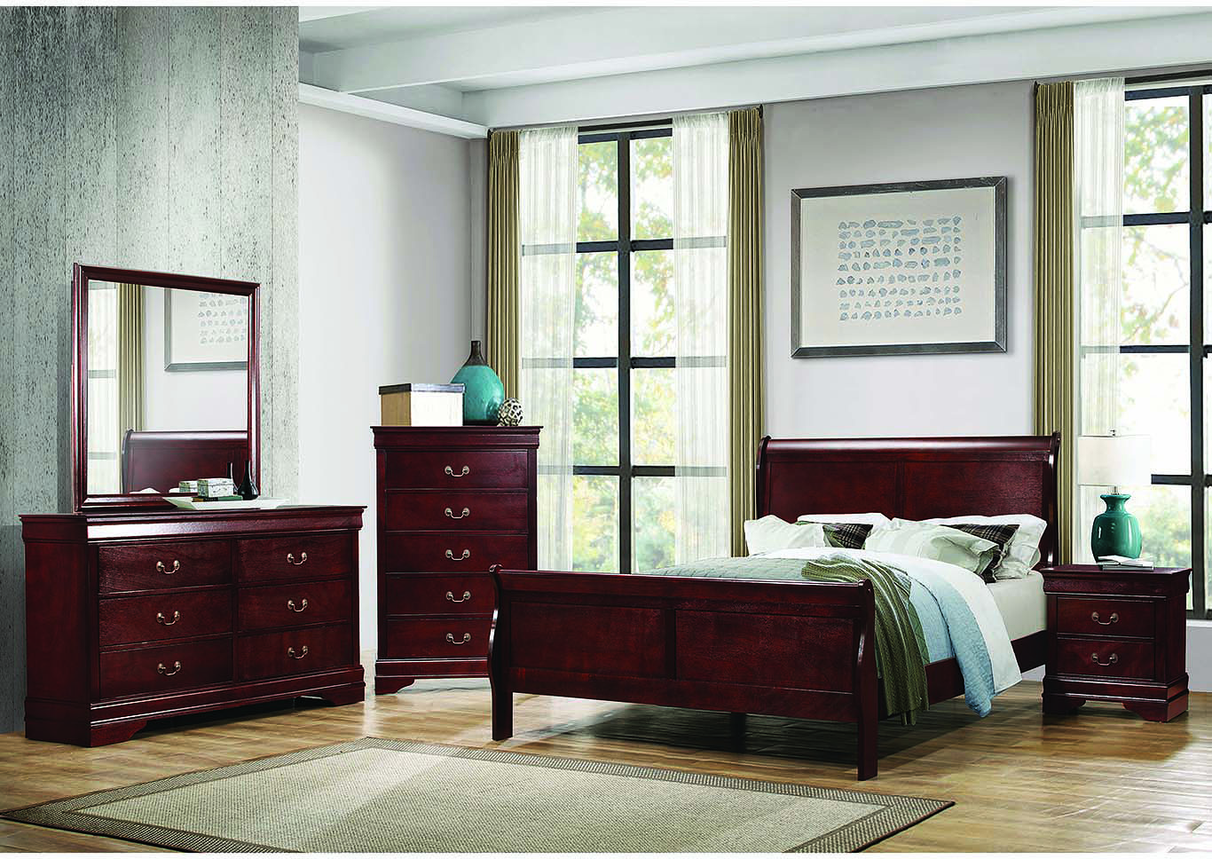 Louis Philippe Cherry Eastern King Panel Bed w/Dresser & Mirror,Coaster Furniture