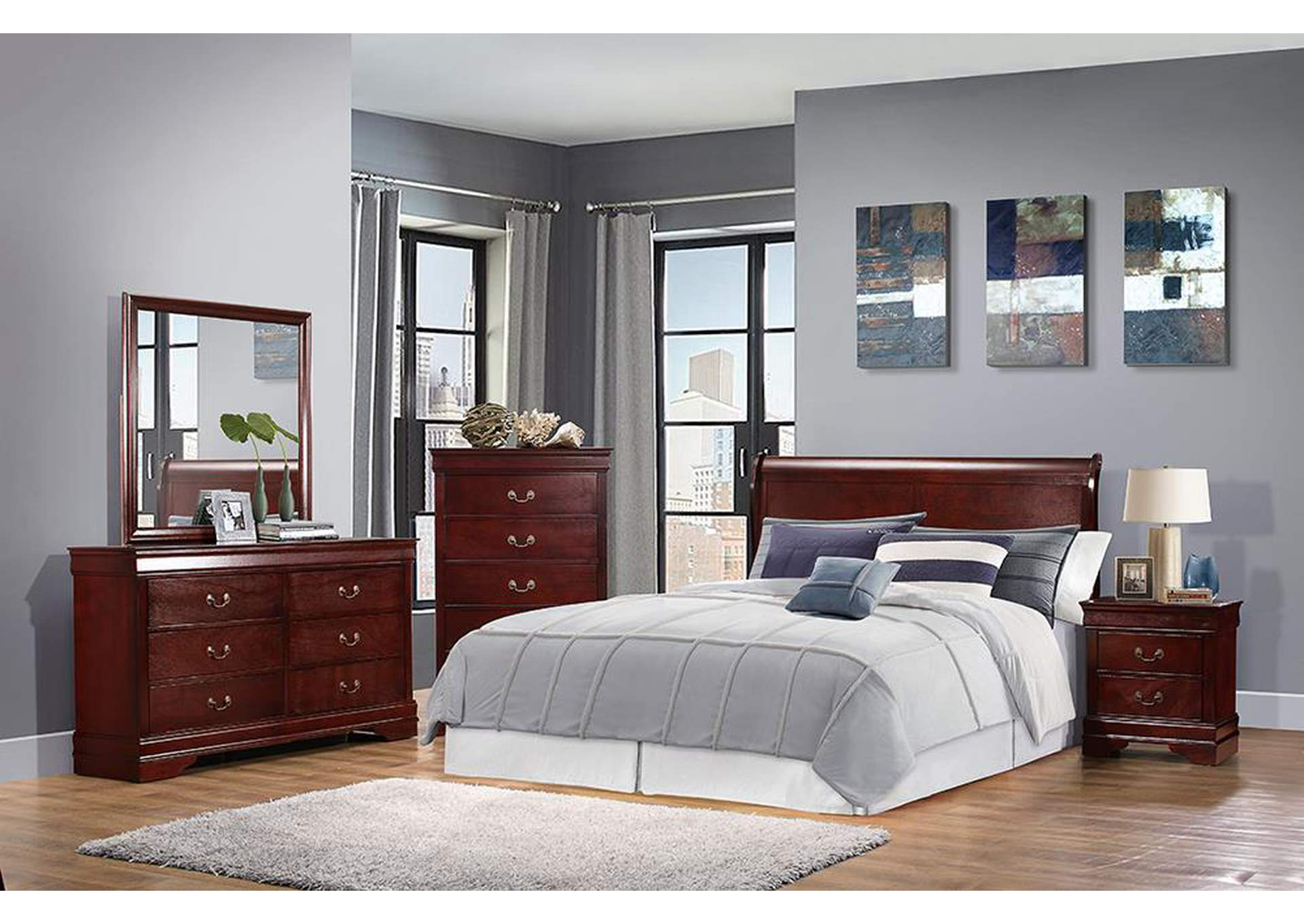 Louis Philippe Cherry Eastern King Panel Bed,Coaster Furniture