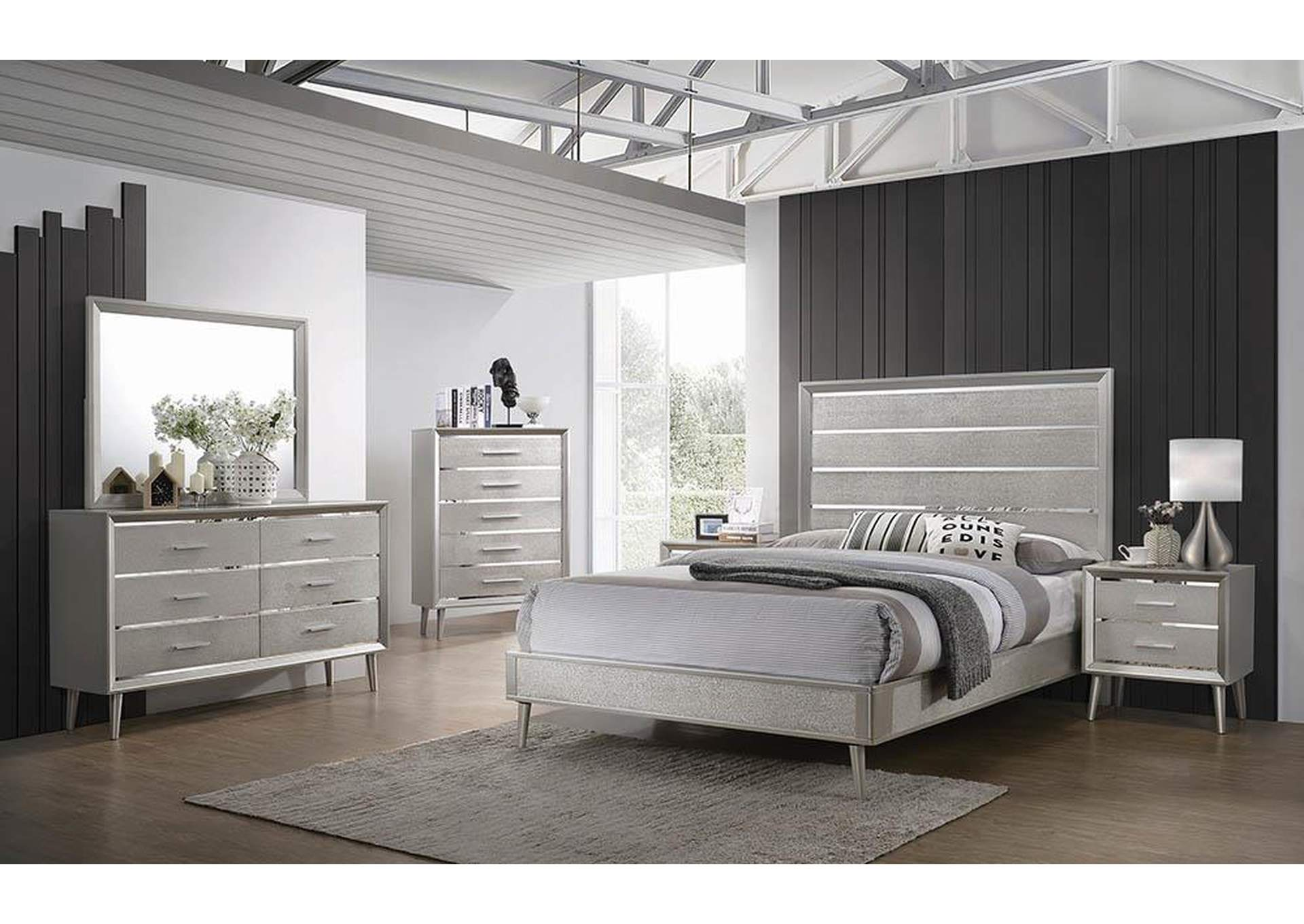 Metallic Sterling Eastern King Bed,Coaster Furniture
