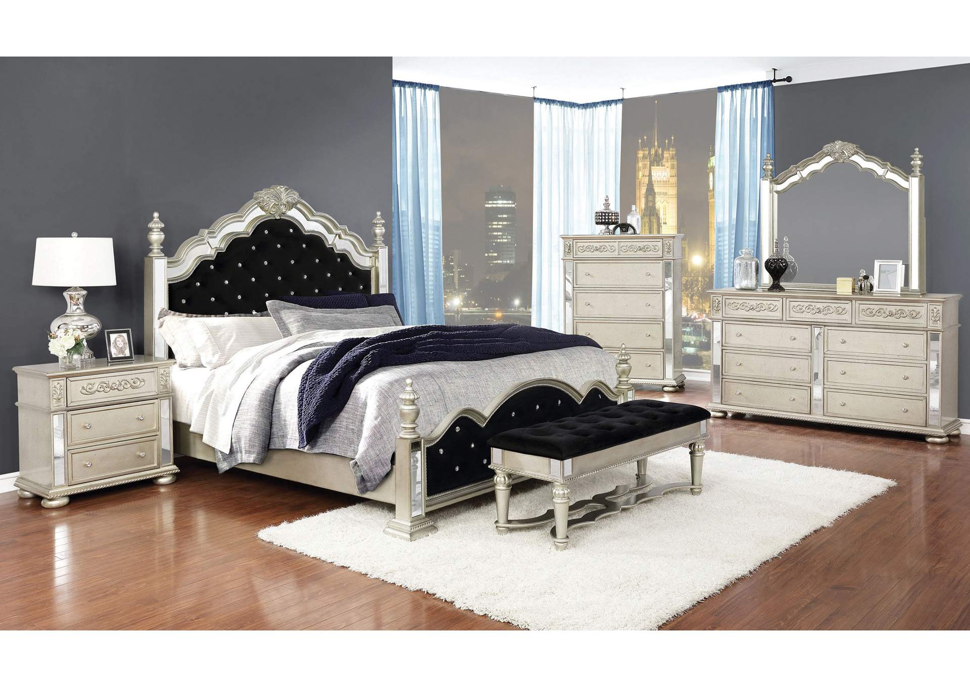Heidi Scarpa Flow 4 Piece Eastern King Bedroom Set,Coaster Furniture