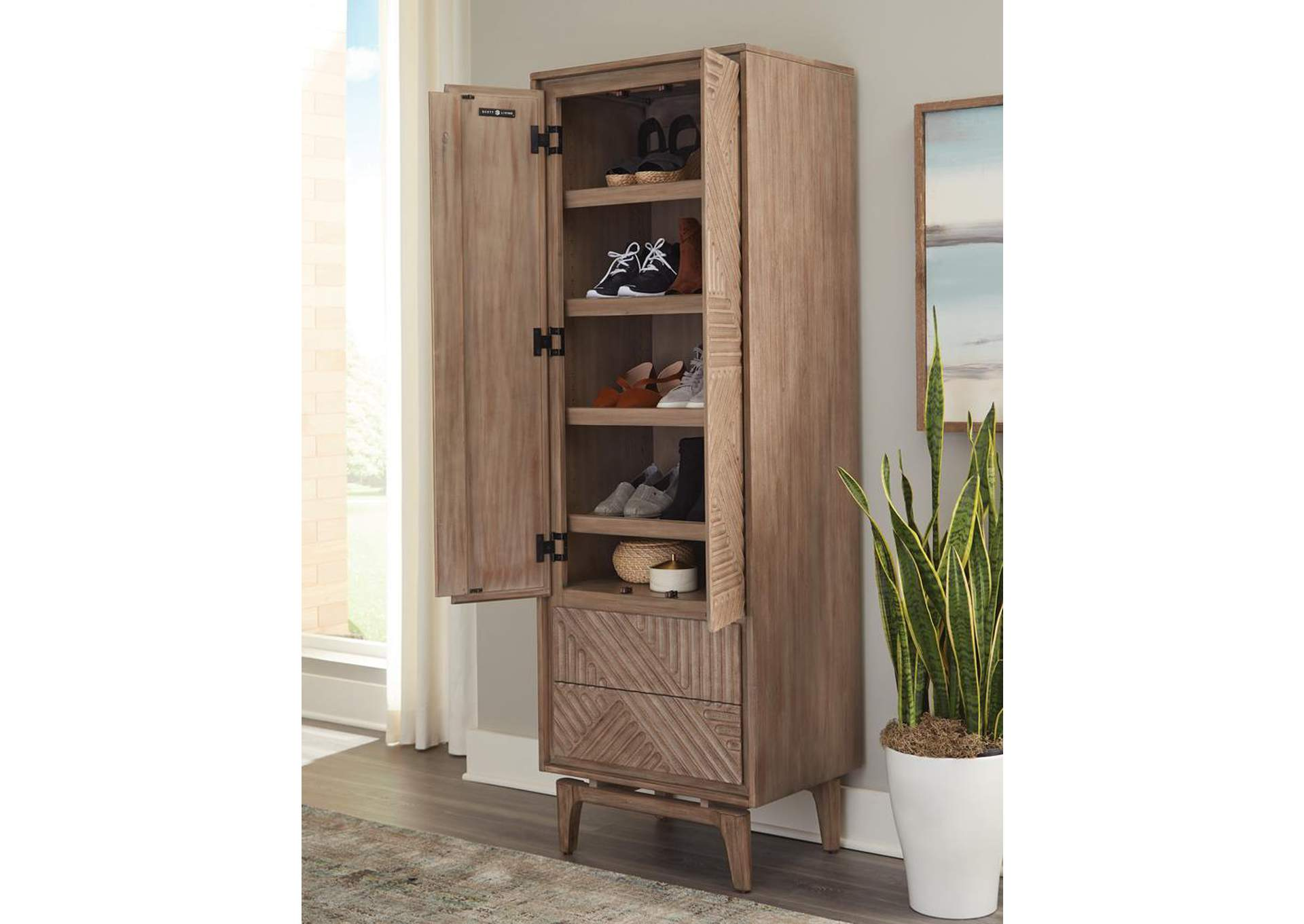 Vanowen Brown 2-Drawer Shoe Cabinet,Coaster Furniture