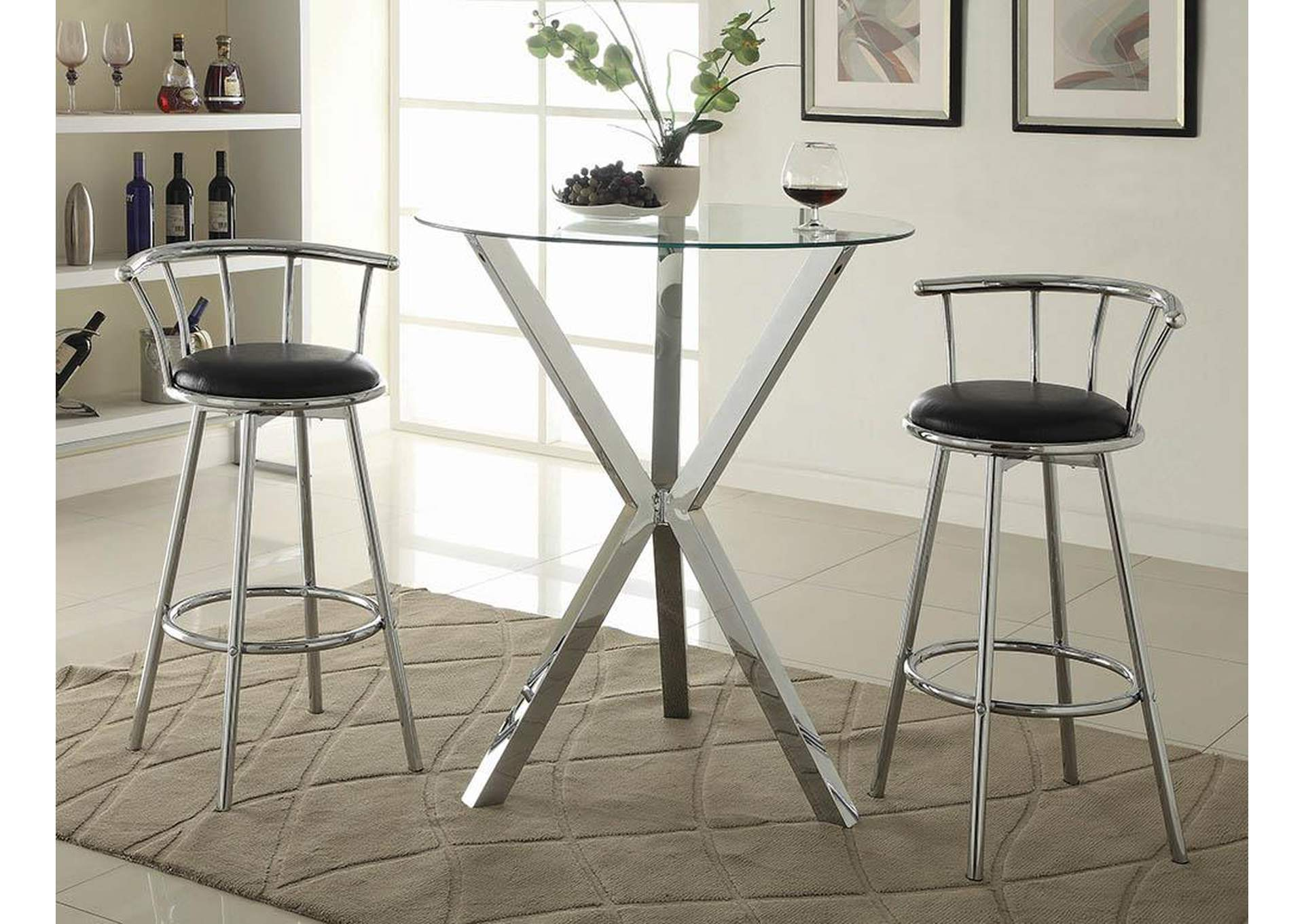 Chrome-Plated Swivel Bar Stool (Set of 2),Coaster Furniture