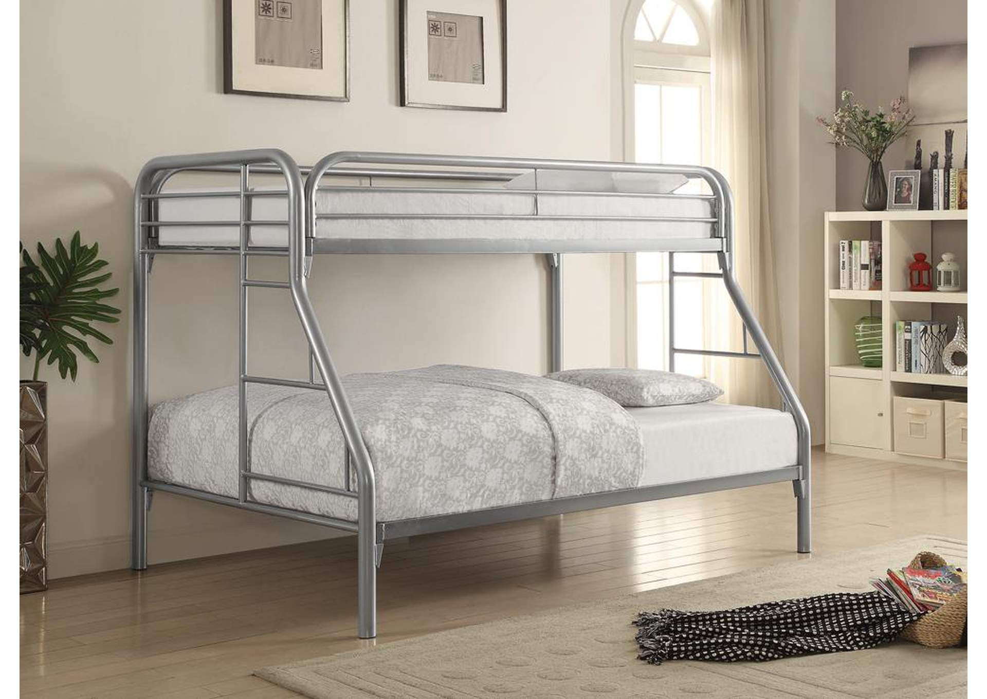 Silver Twin/Full Metal Bunk Bed,Coaster Furniture