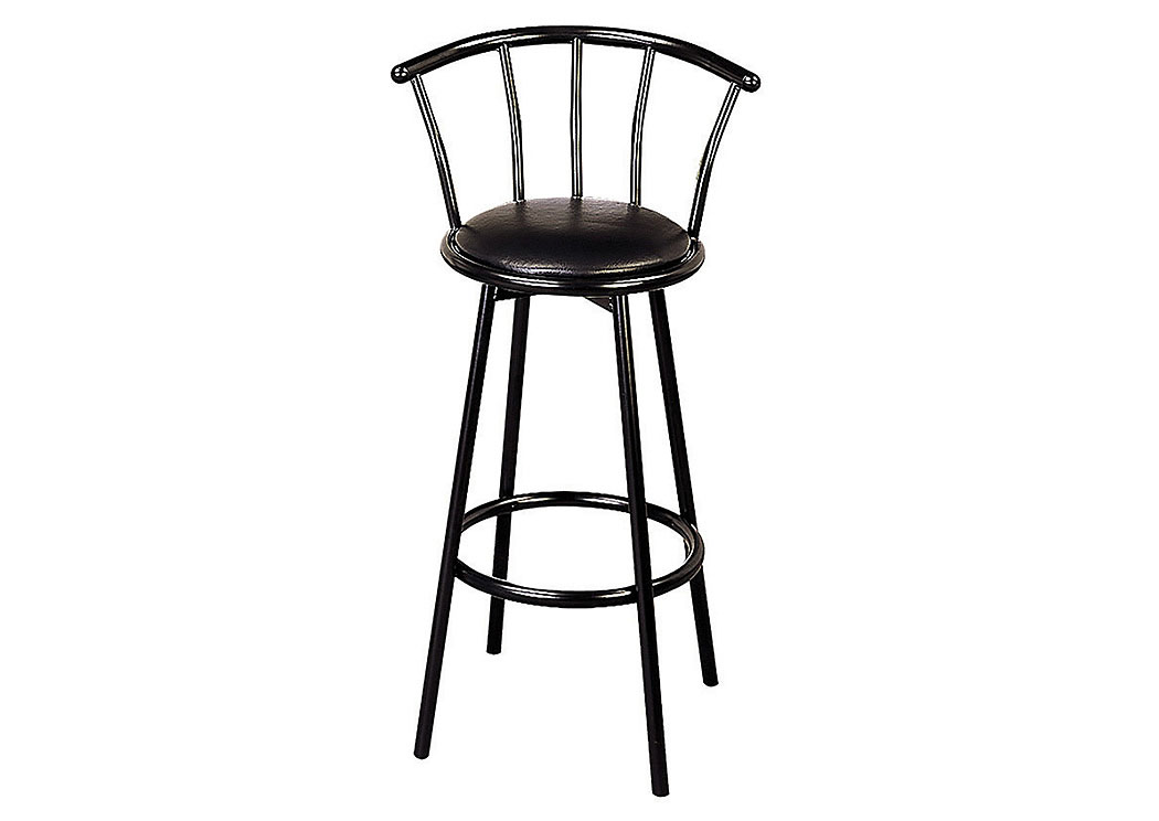 "Eerie Black 30"" Metal Swivel Black Bar Stool [Set of 2],Coaster Furniture"